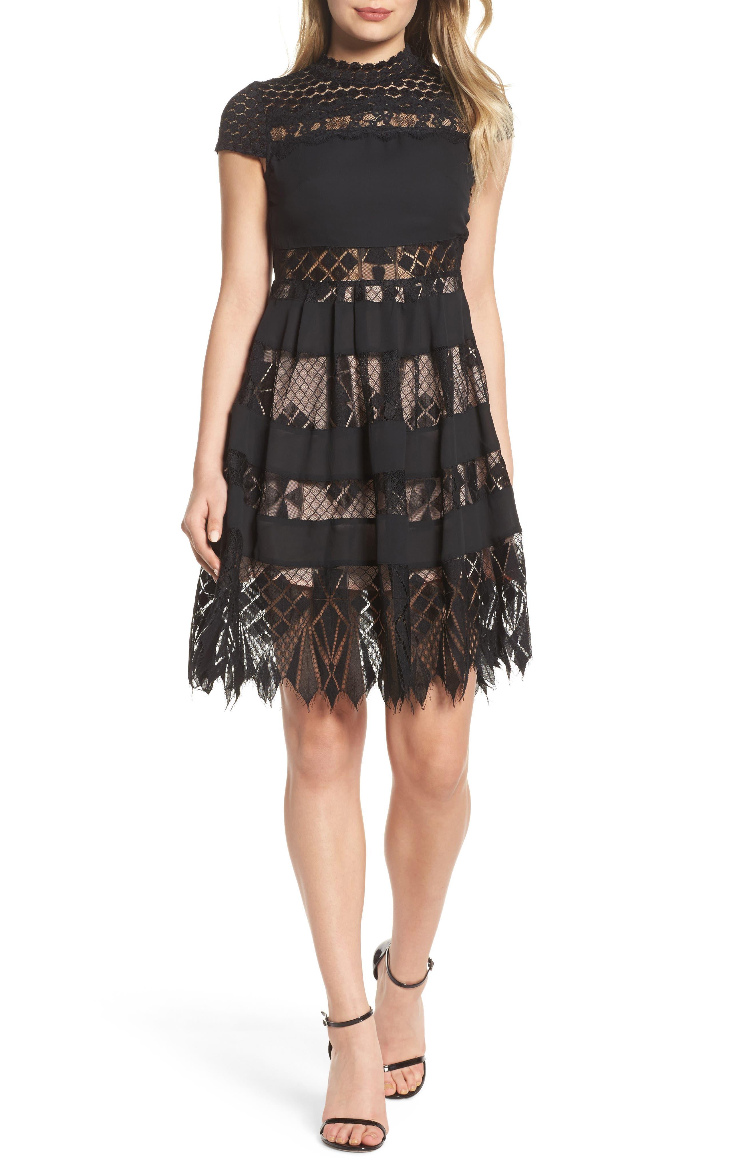 Main Image - Foxiedox Bravo Zulu Lacy Paneled Fit & Flare Dress
