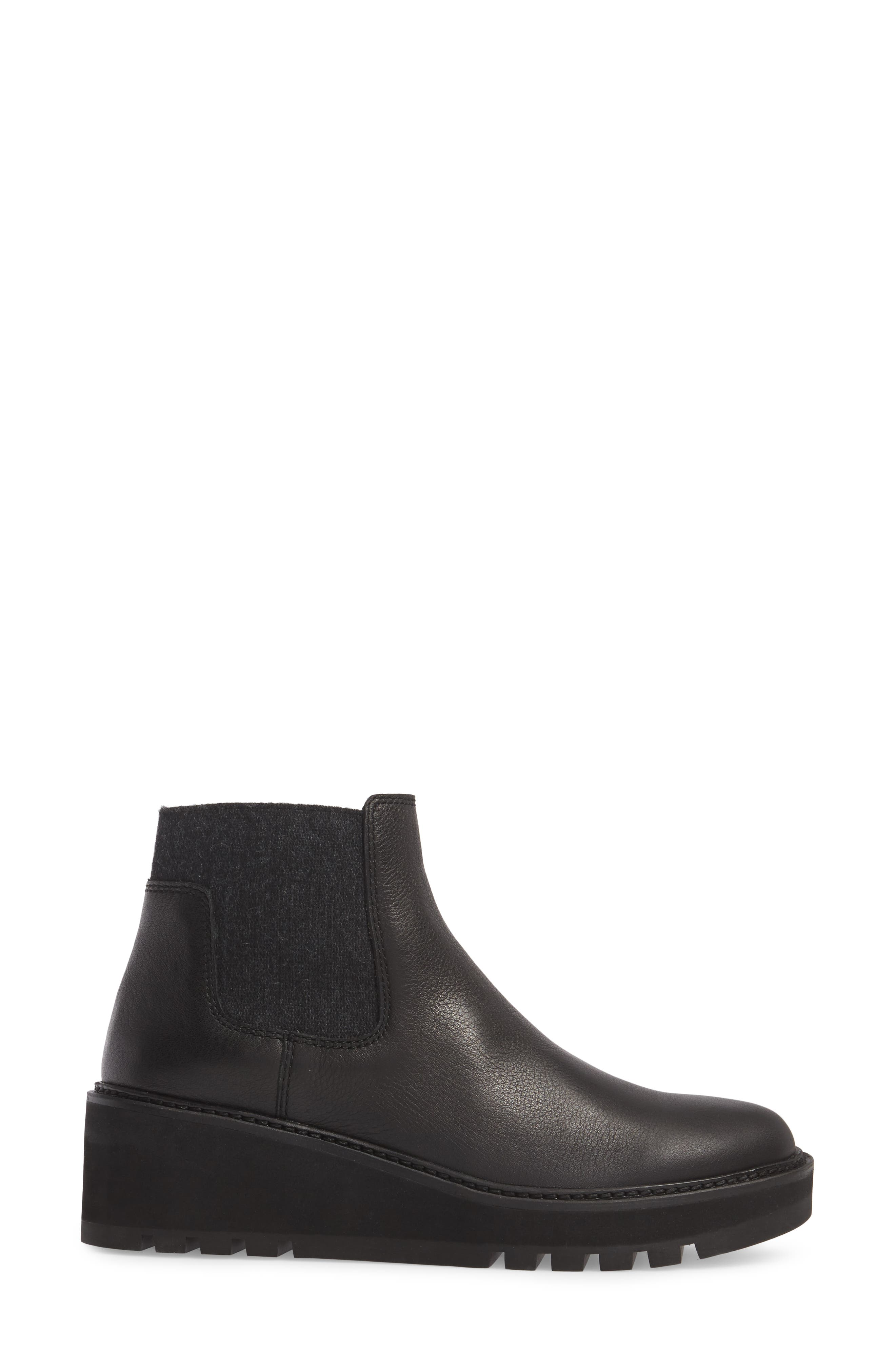 Wedge Chelsea Bootie,                             Alternate thumbnail 3, color,                             Black Washed Leather