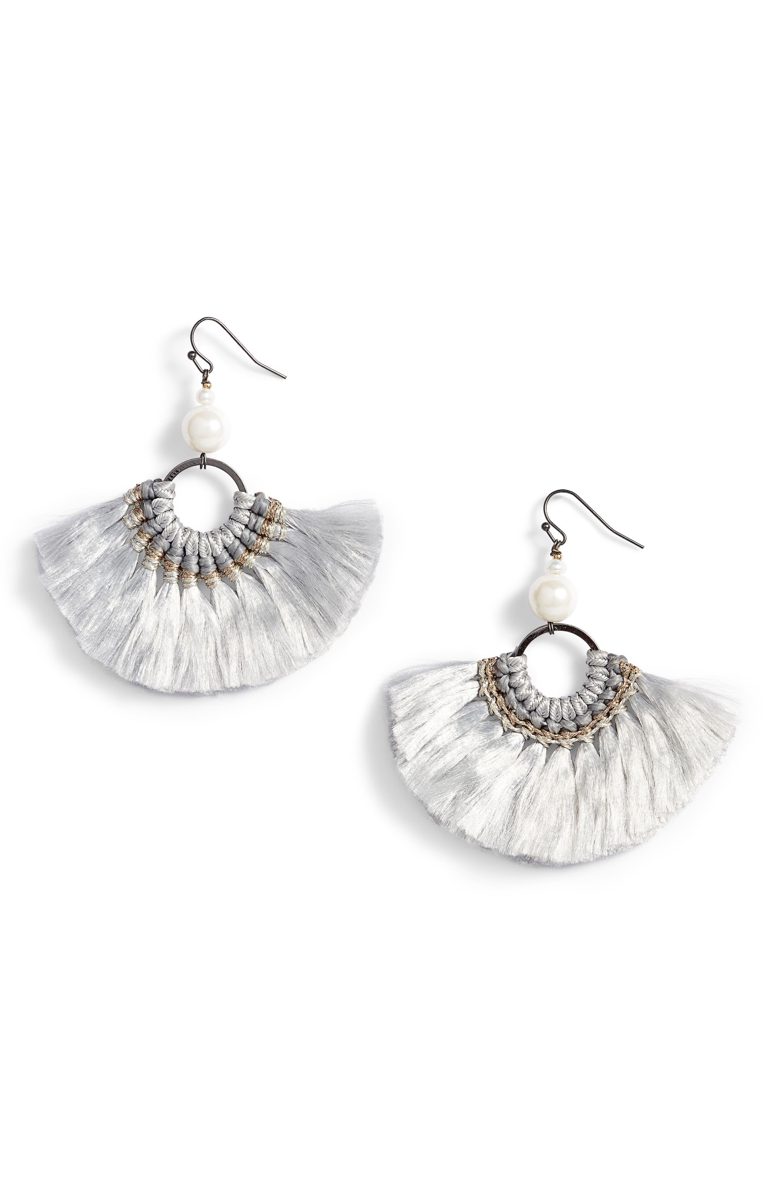 Tassel Pearl Earrings,                         Main,                         color, Grey