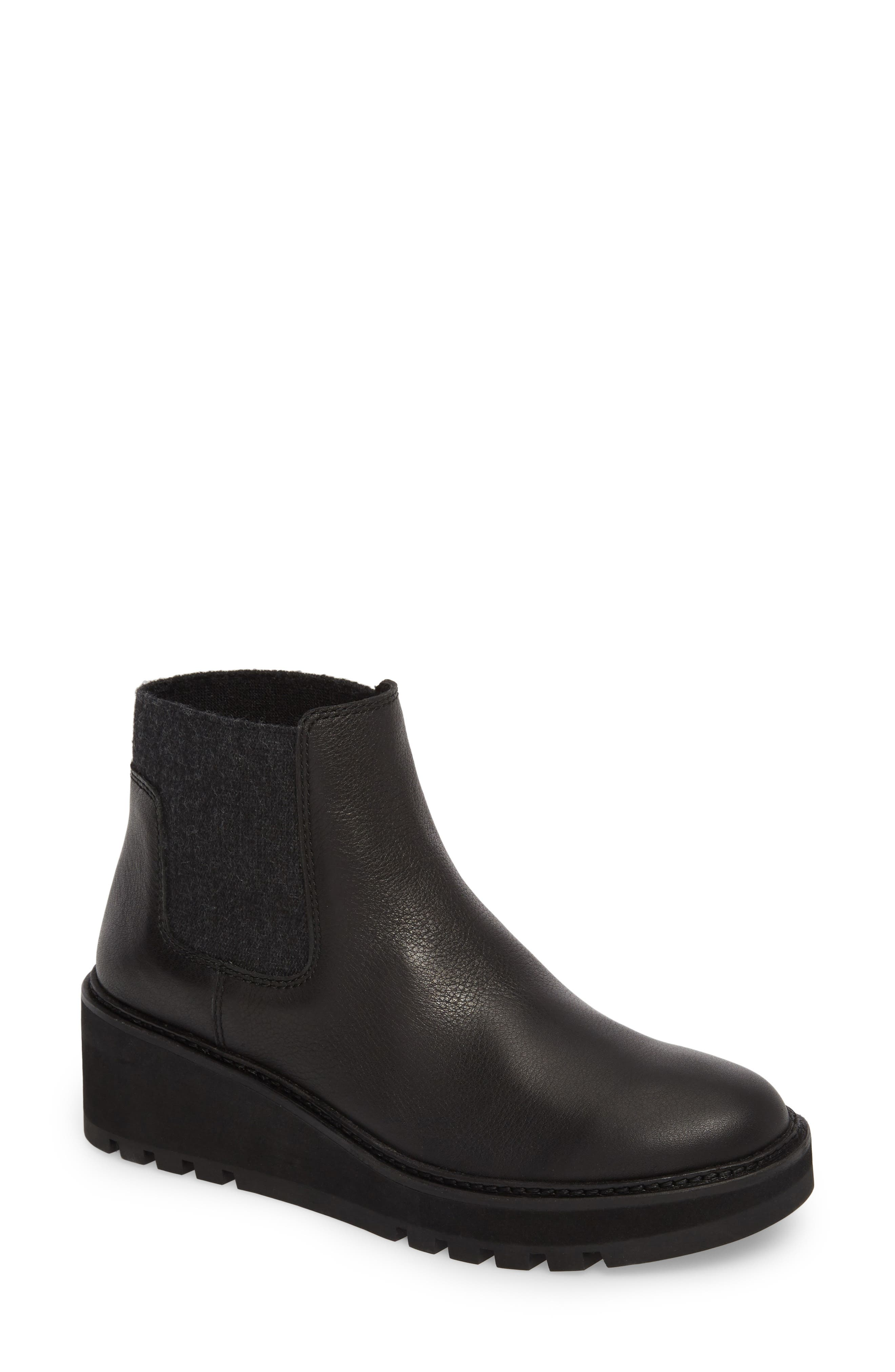 Wedge Chelsea Bootie,                             Main thumbnail 1, color,                             Black Washed Leather