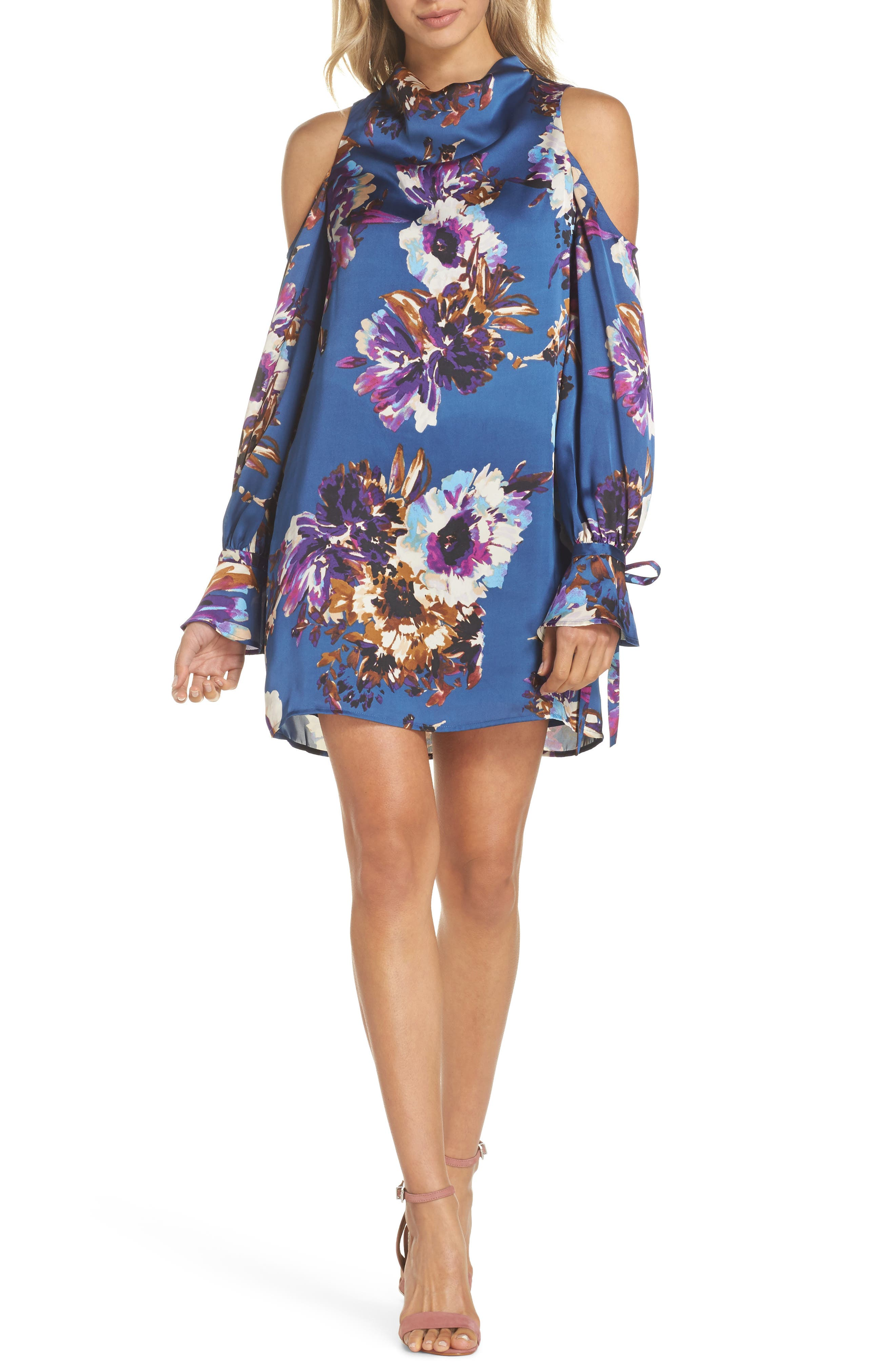 Woman in the Window Minidress,                             Main thumbnail 1, color,                             French Blue Floral Satin