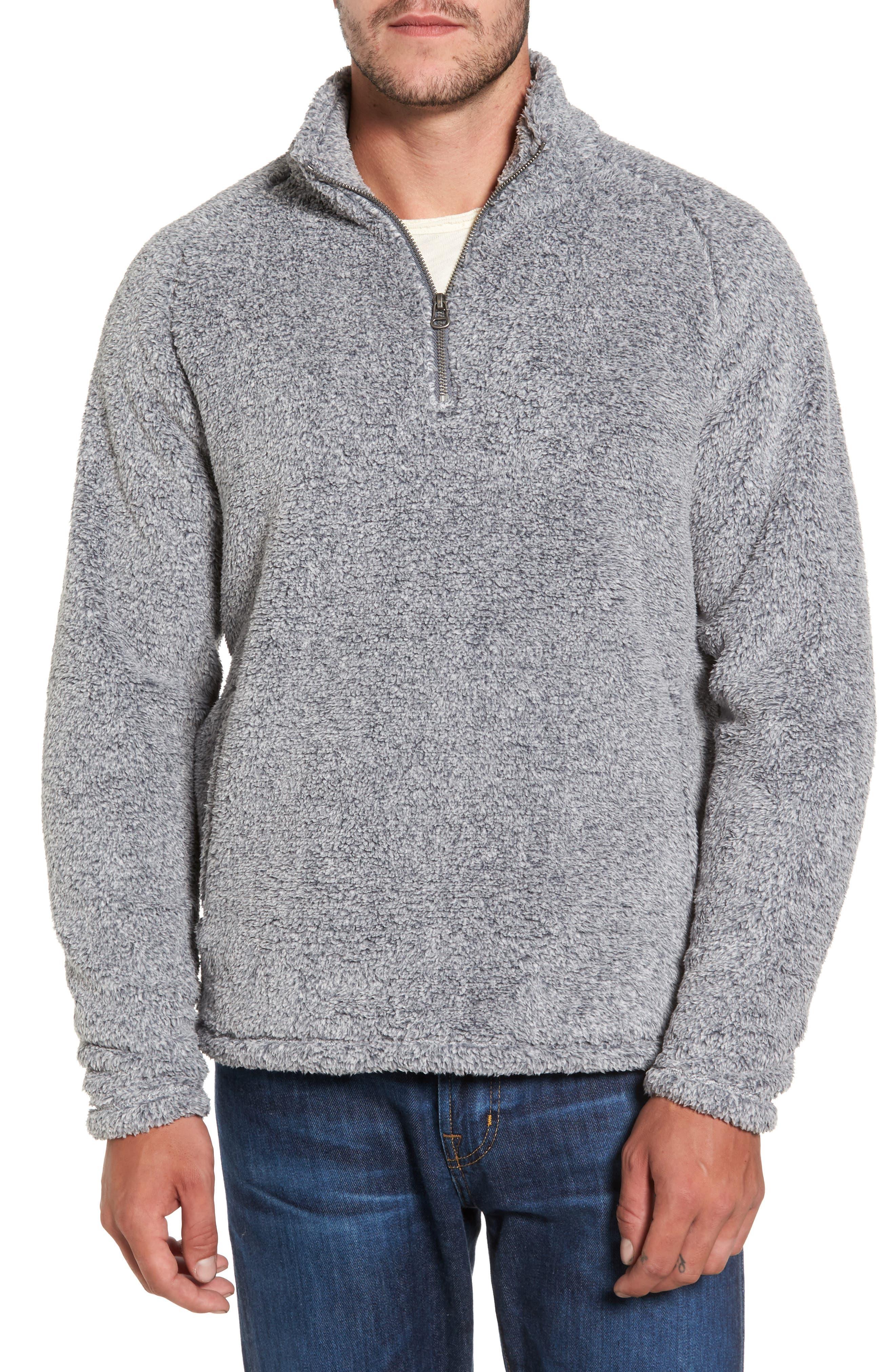 Polar Fleece Quarter Zip Pullover,                             Main thumbnail 1, color,                             Black Caviar Heather