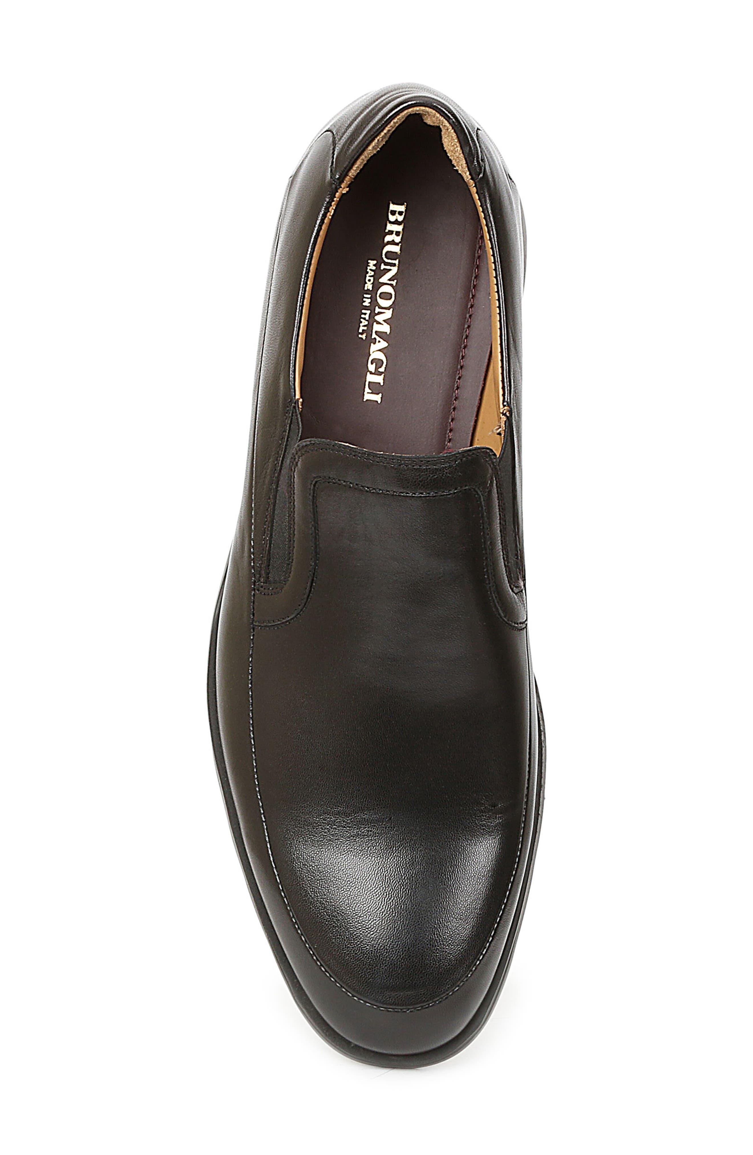 Vegas Apron Toe Loafer,                             Alternate thumbnail 5, color,                             Black Leather