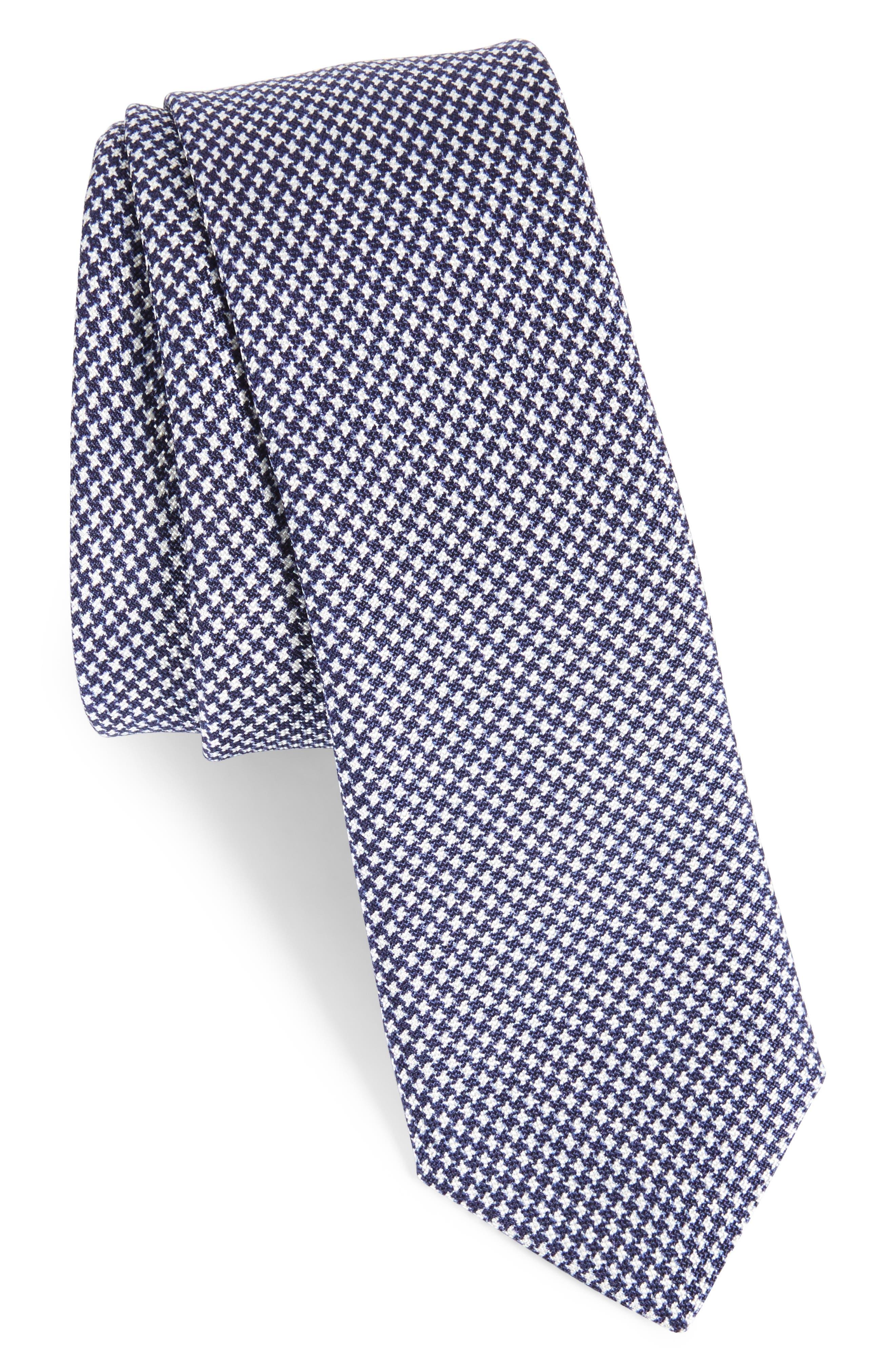 Houndstooth Silk Skinny Tie,                         Main,                         color, Navy
