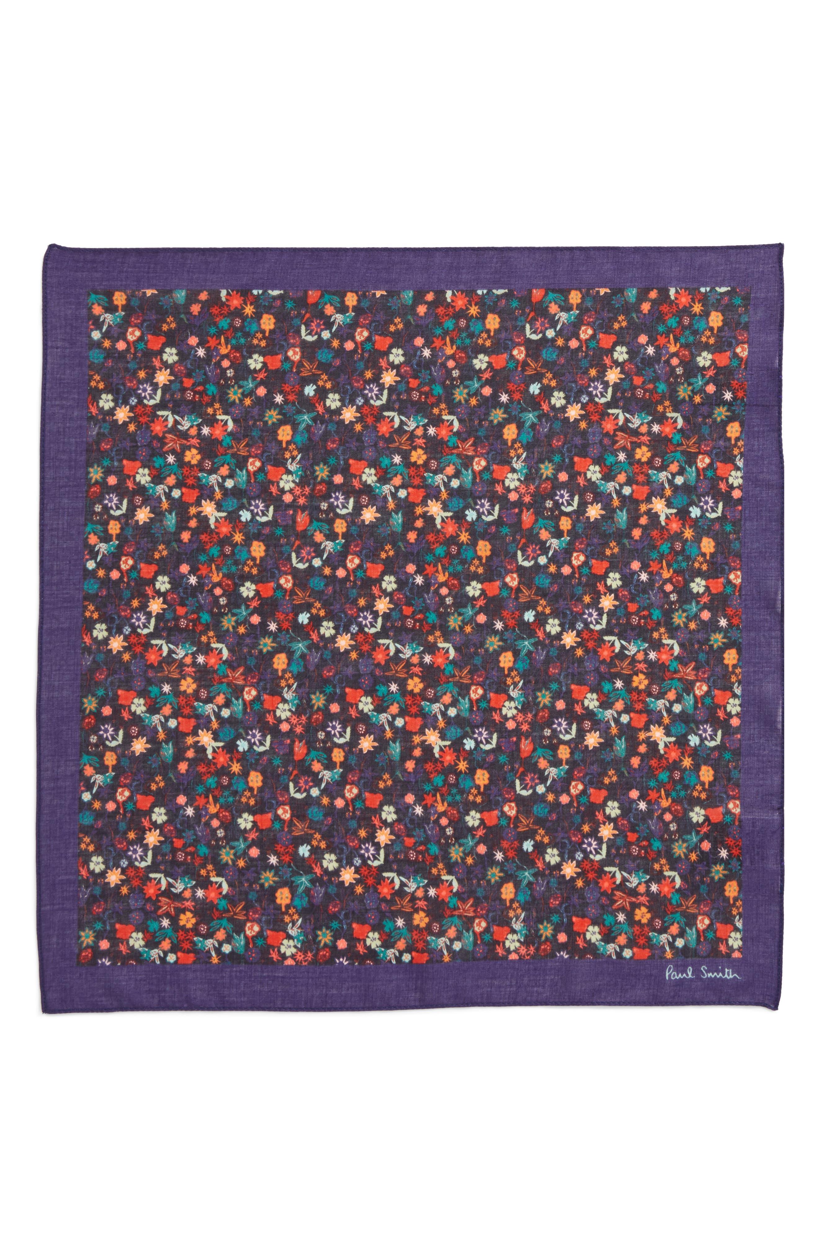 Floral Cotton Pocket Square,                             Alternate thumbnail 2, color,                             Cobalt Blue