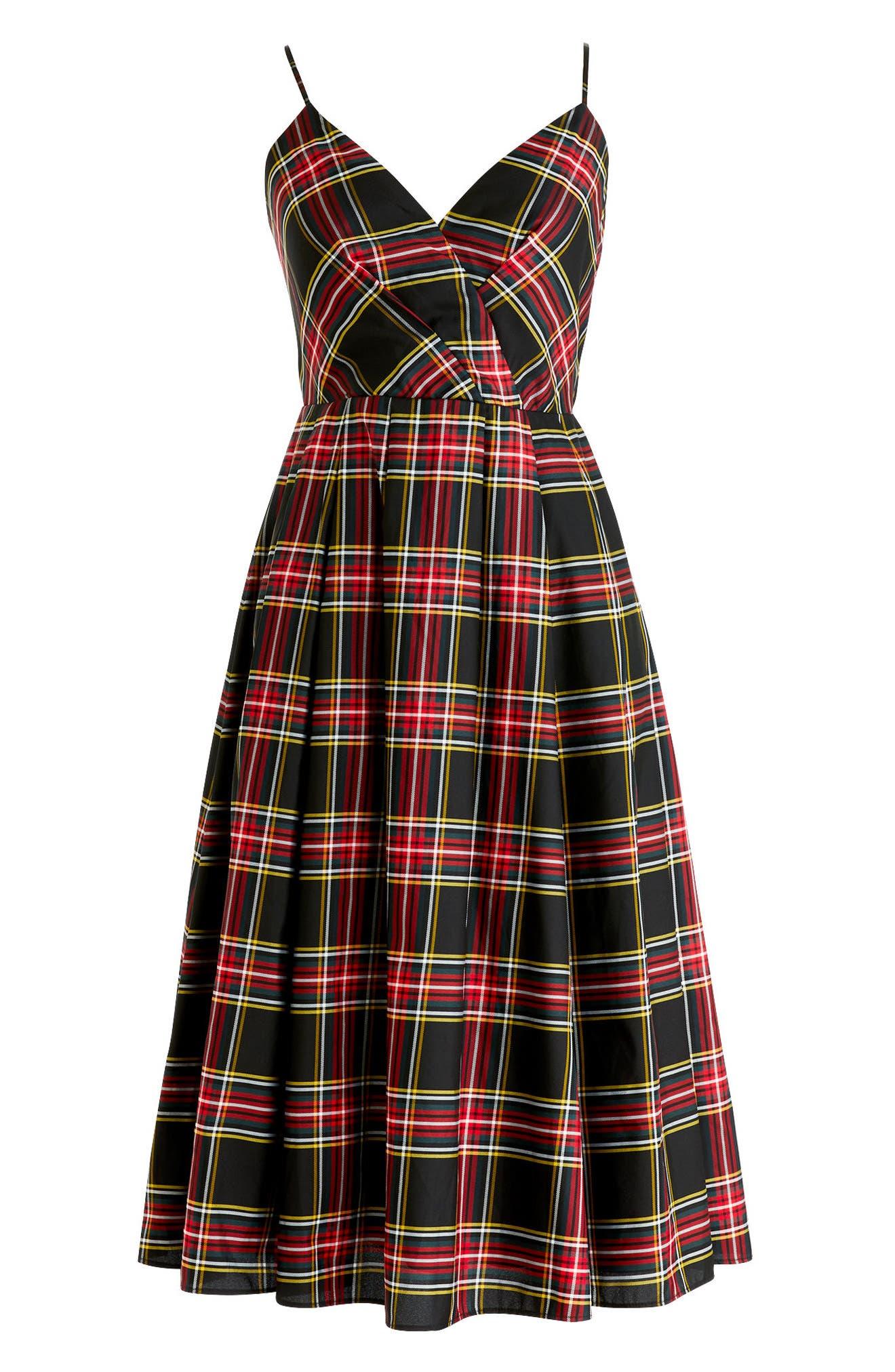 Spaghetti Strap Stewart Plaid A-Line Dress,                             Alternate thumbnail 4, color,                             Red Green Tartan