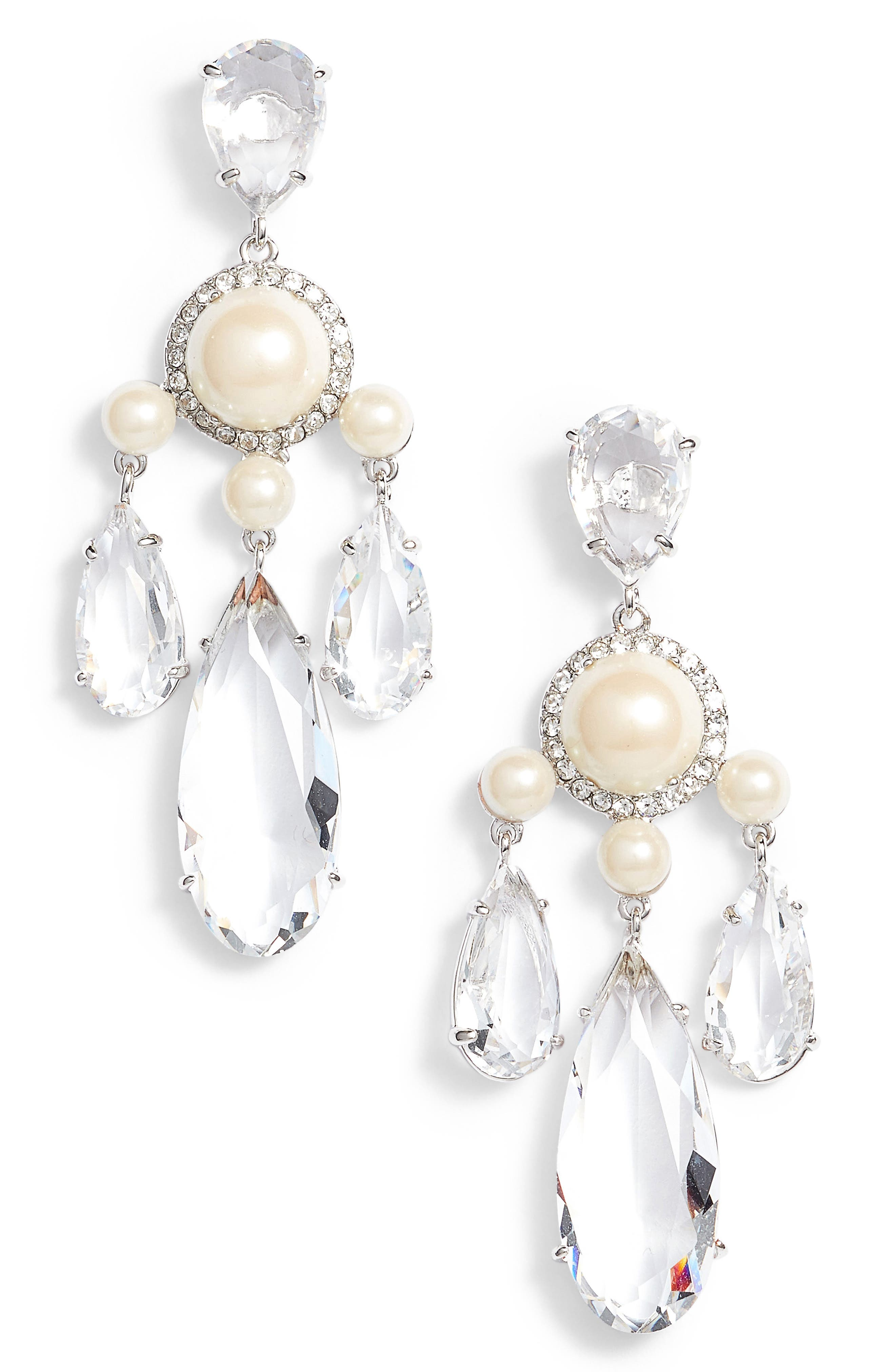 glitz and glam chandelier drop earrings,                             Main thumbnail 1, color,                             Cream/ Silver