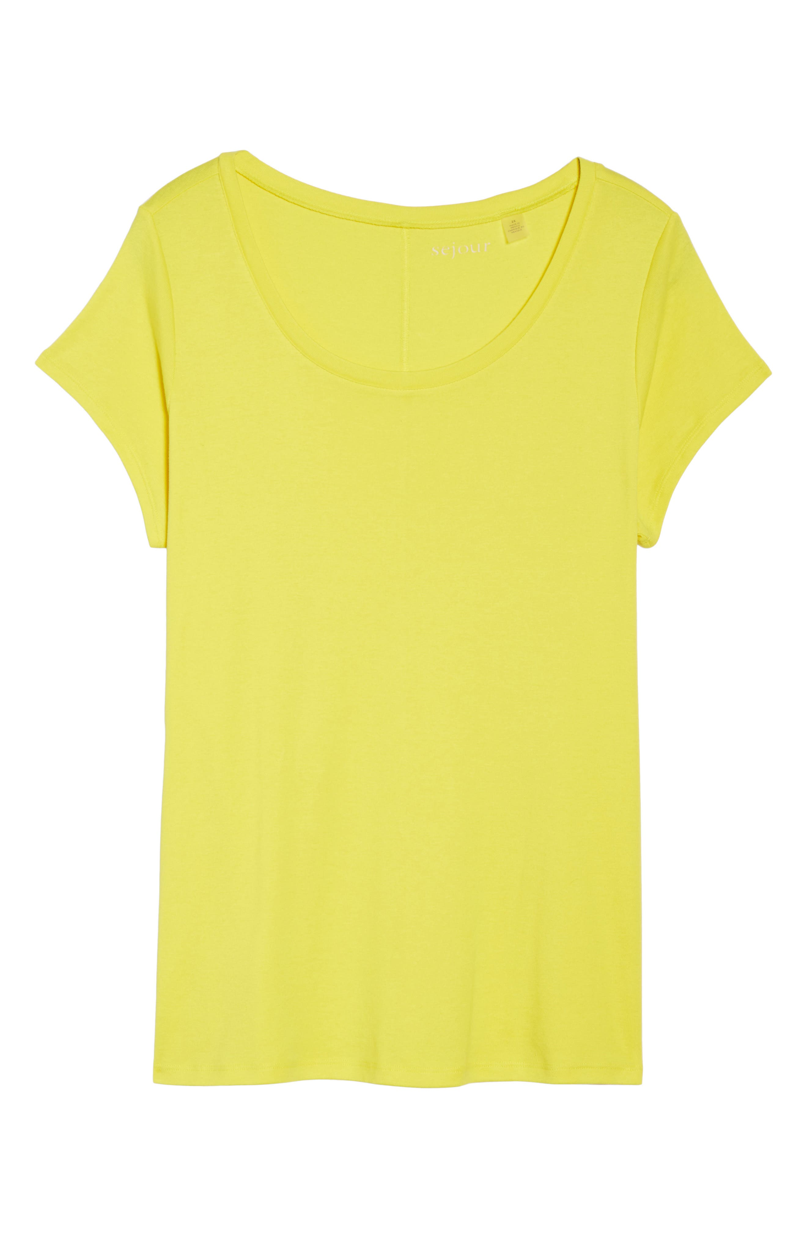 Cap Sleeve Ribbed Tee,                             Alternate thumbnail 6, color,                             Yellow Vibrant