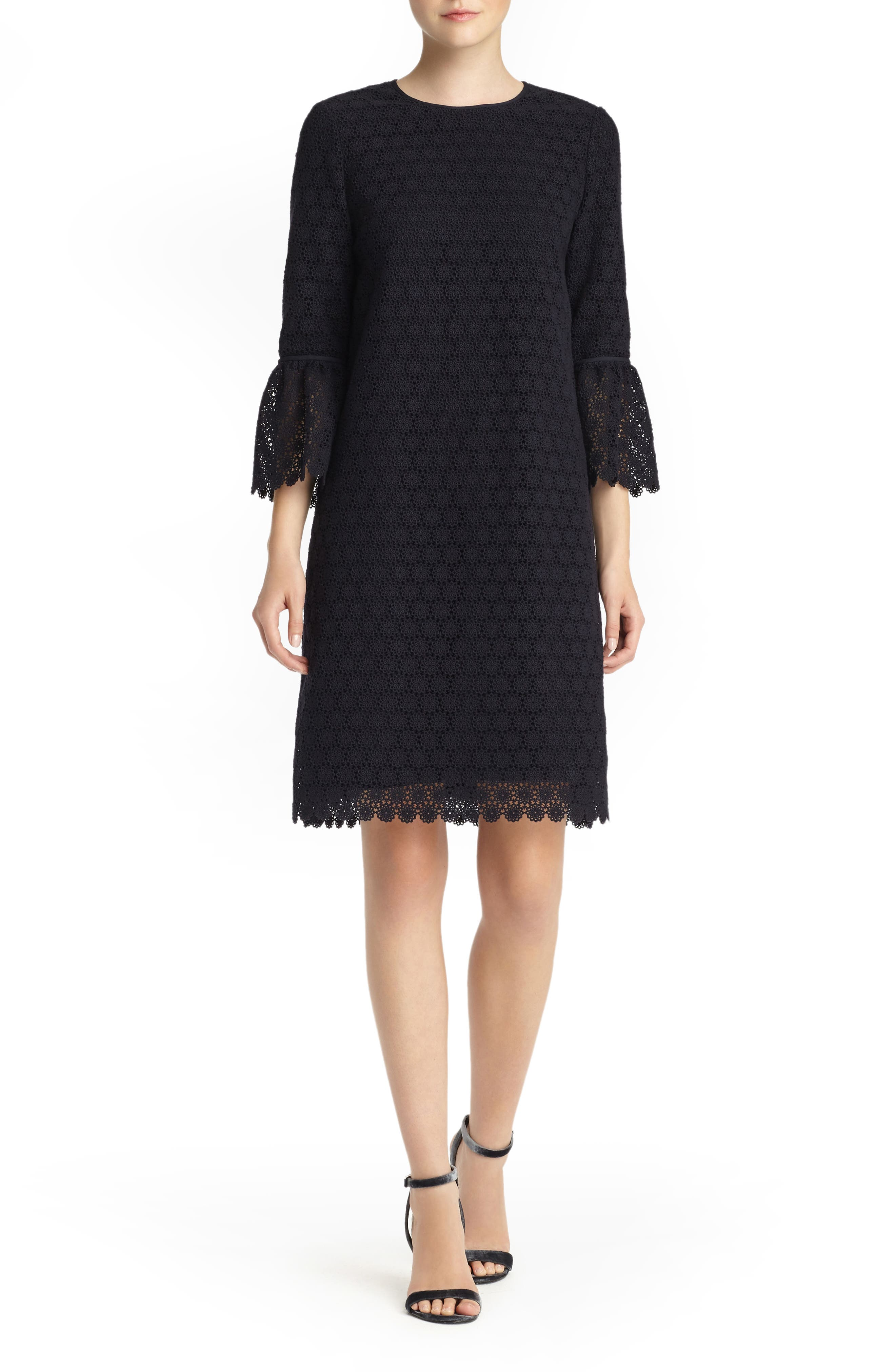 Sidra Bell Sleeve Lace Dress,                             Main thumbnail 1, color,                             Ink