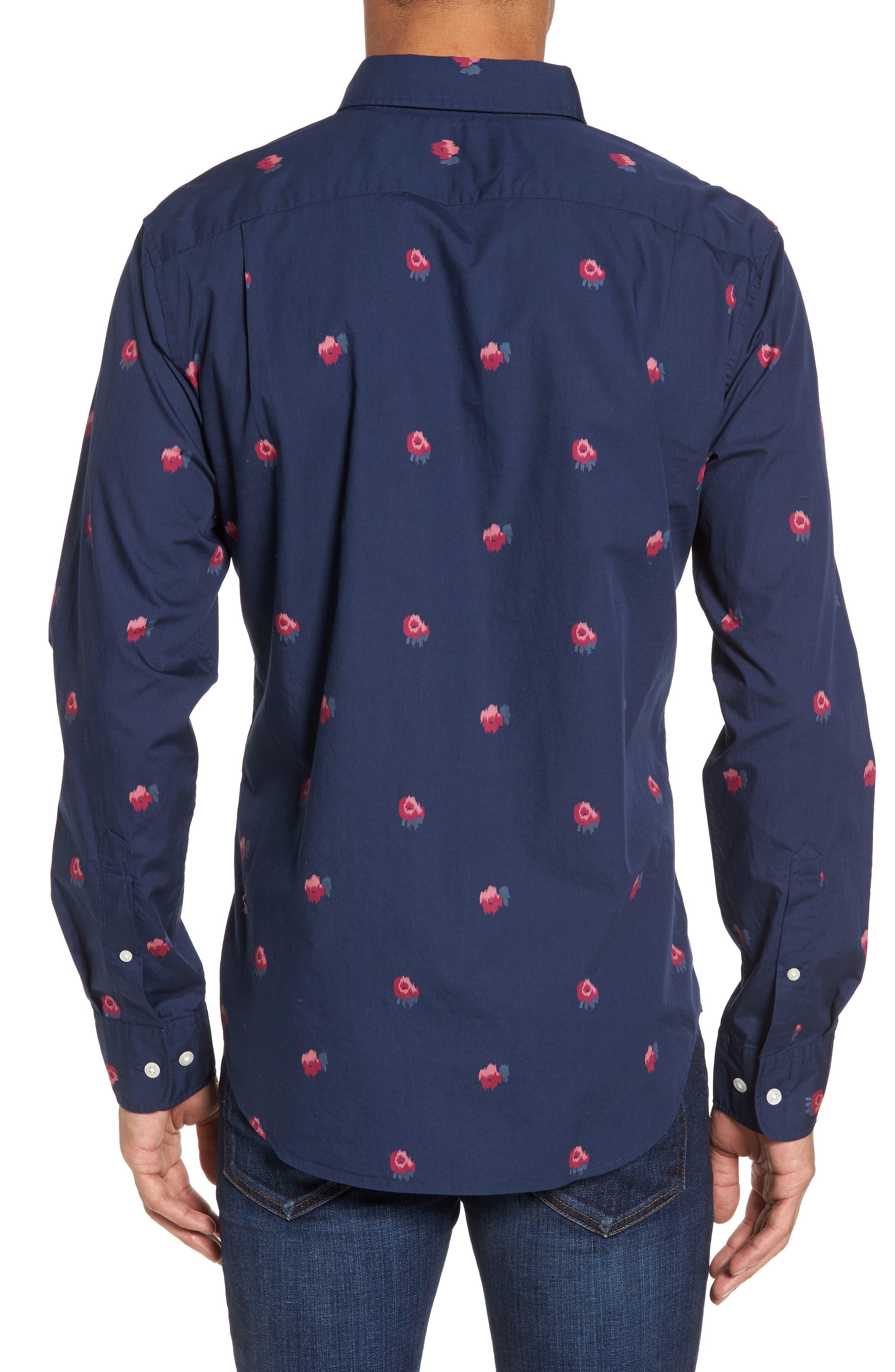 Slim Fit Washed Rose Print Sport Shirt,                             Alternate thumbnail 2, color,                             Light Peak Floral