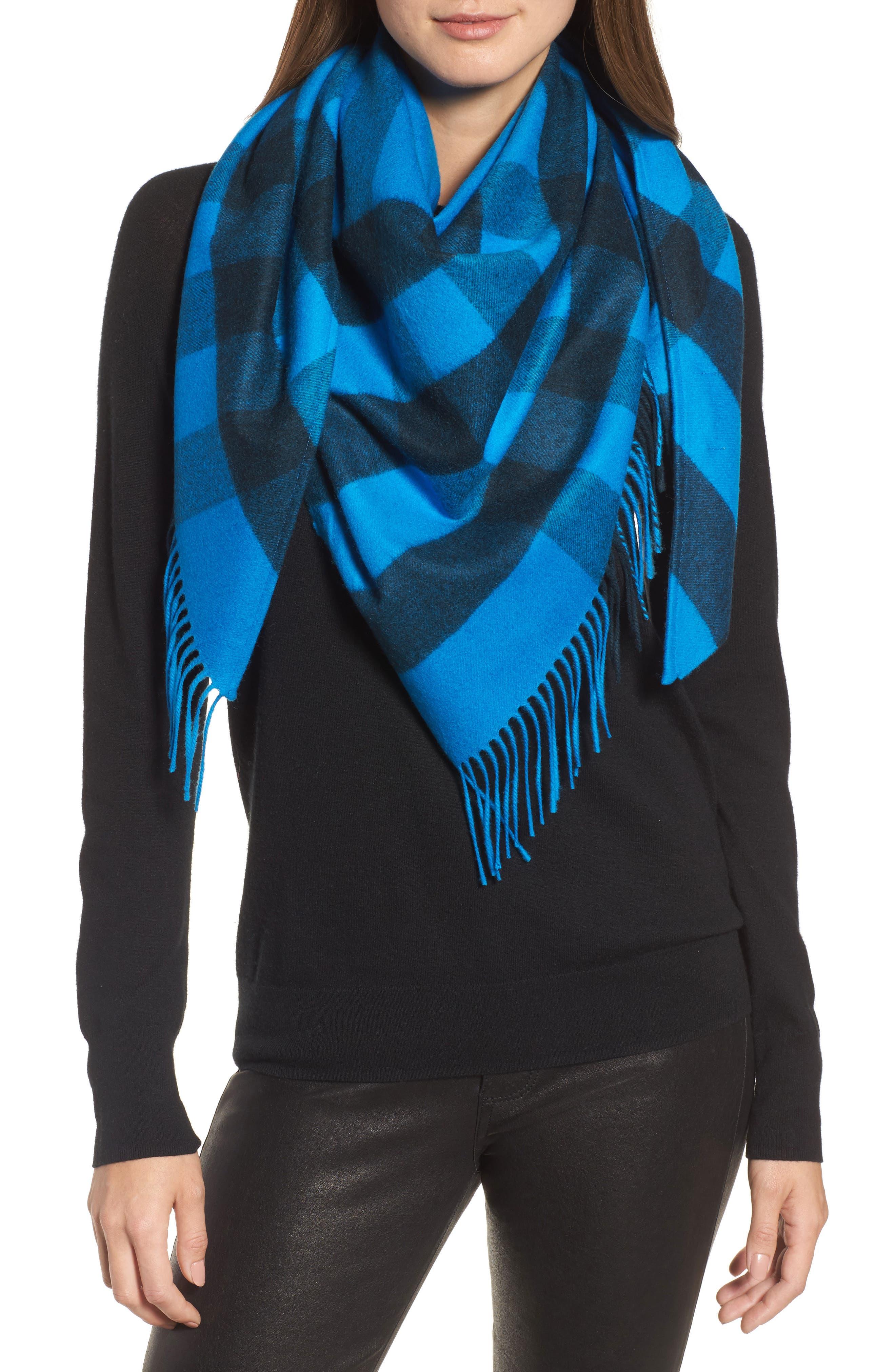 Mega Check Cashmere Scarf,                         Main,                         color, Bright Blue