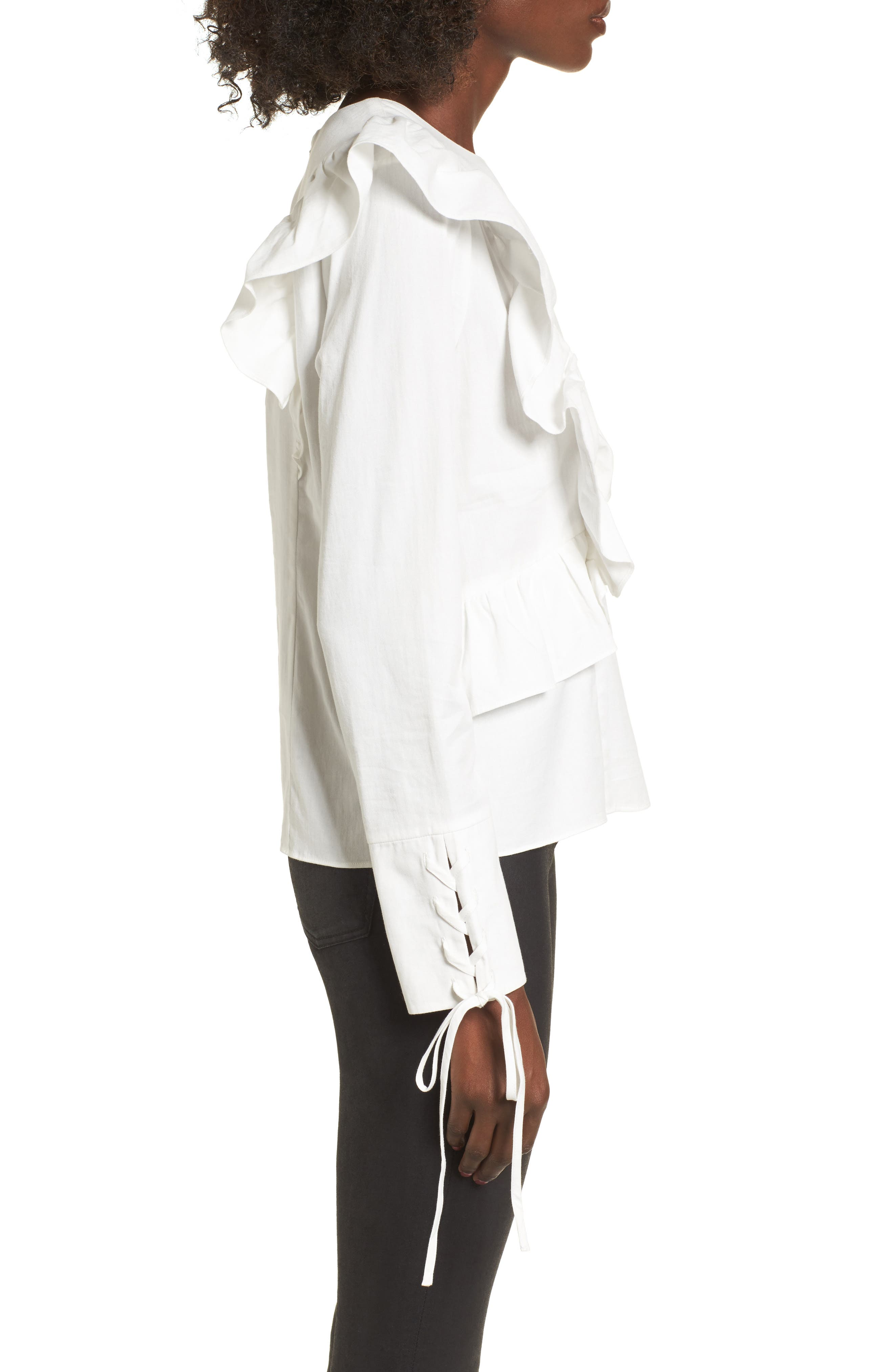 Ruffle Front Top,                             Alternate thumbnail 3, color,                             White