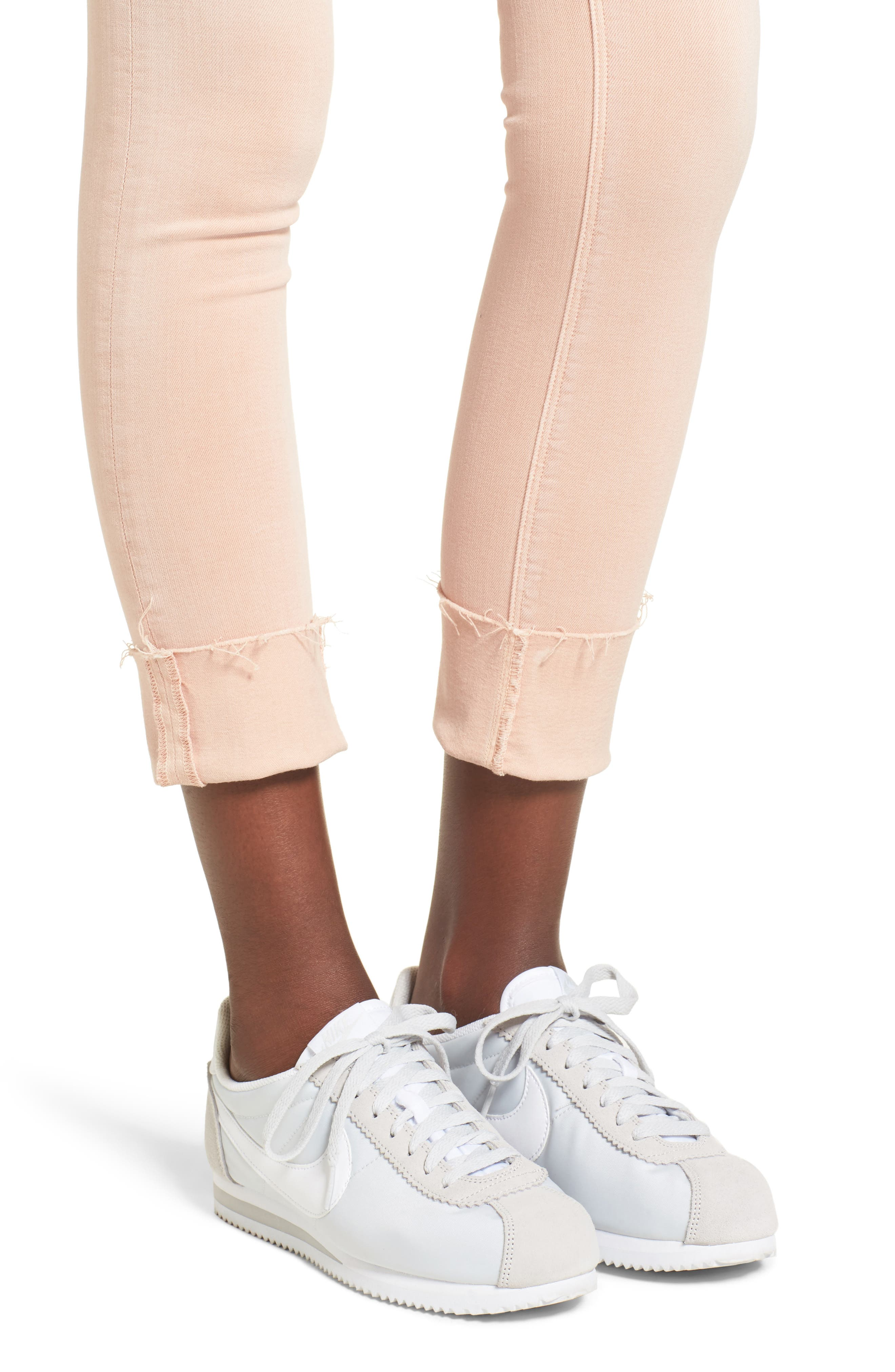 Tally Crop Skinny Jeans,                             Alternate thumbnail 4, color,                             Worn Rosewater