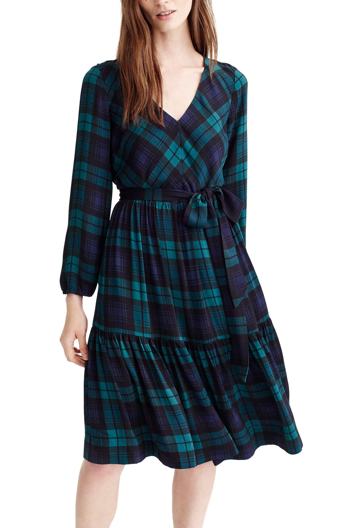J.Crew Drapey Dress in Black Watch Plaid,                             Main thumbnail 1, color,                             Blue/ Green