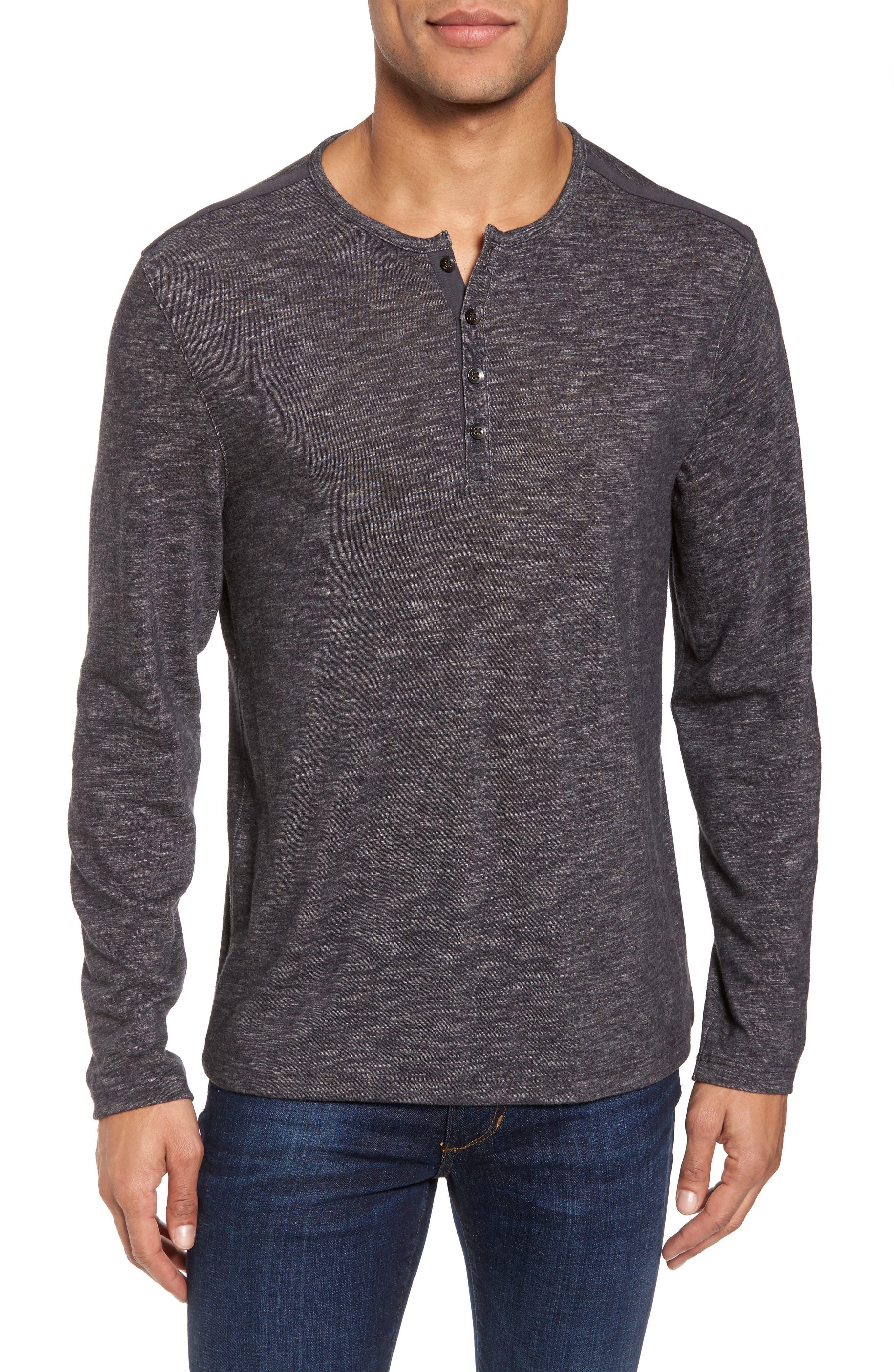 Long Sleeve Slub Knit Henley,                         Main,                         color, Charcoal