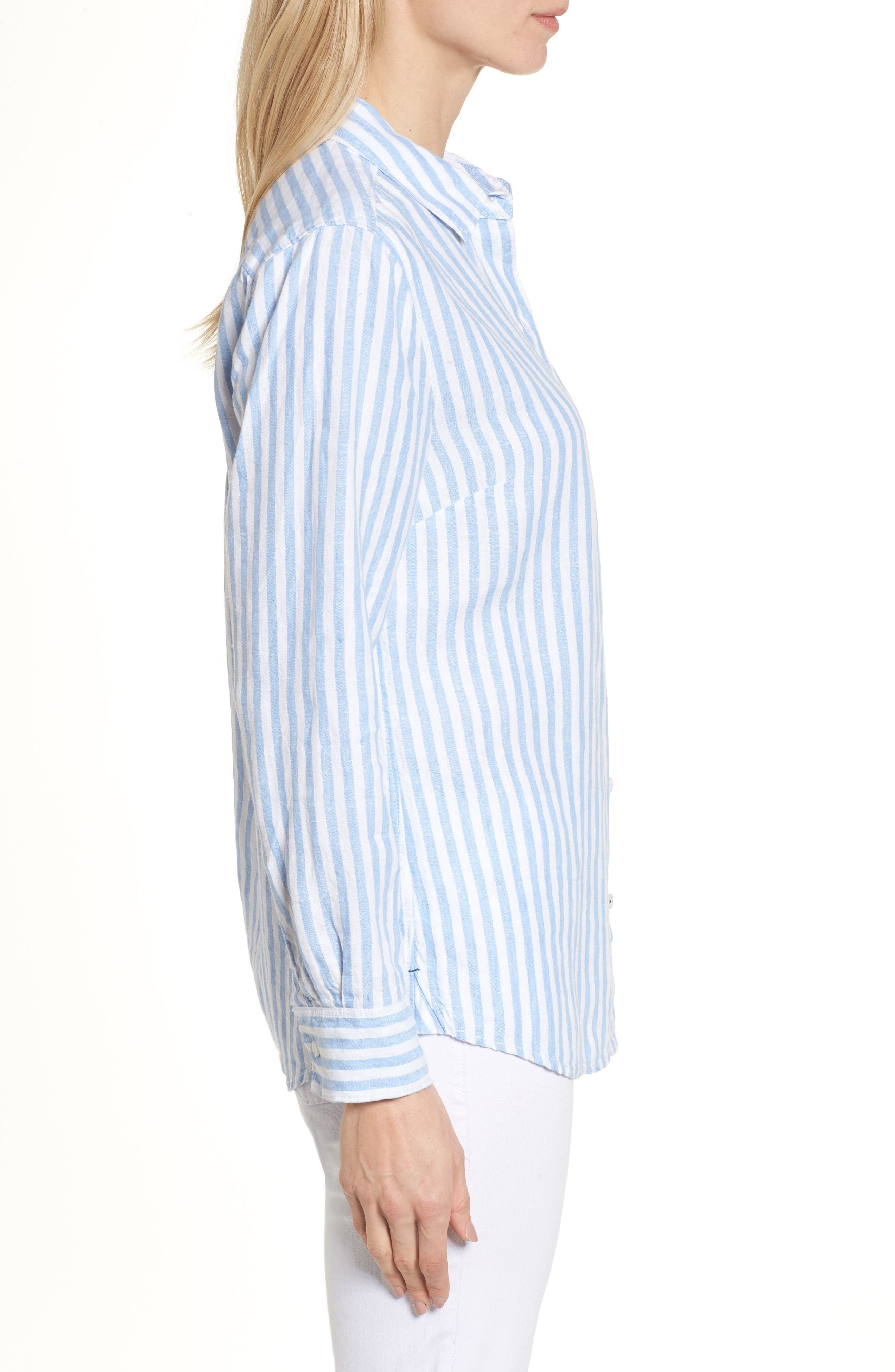 Cabana Stripe Button-Up Top,                             Alternate thumbnail 3, color,                             Dusty Lupine