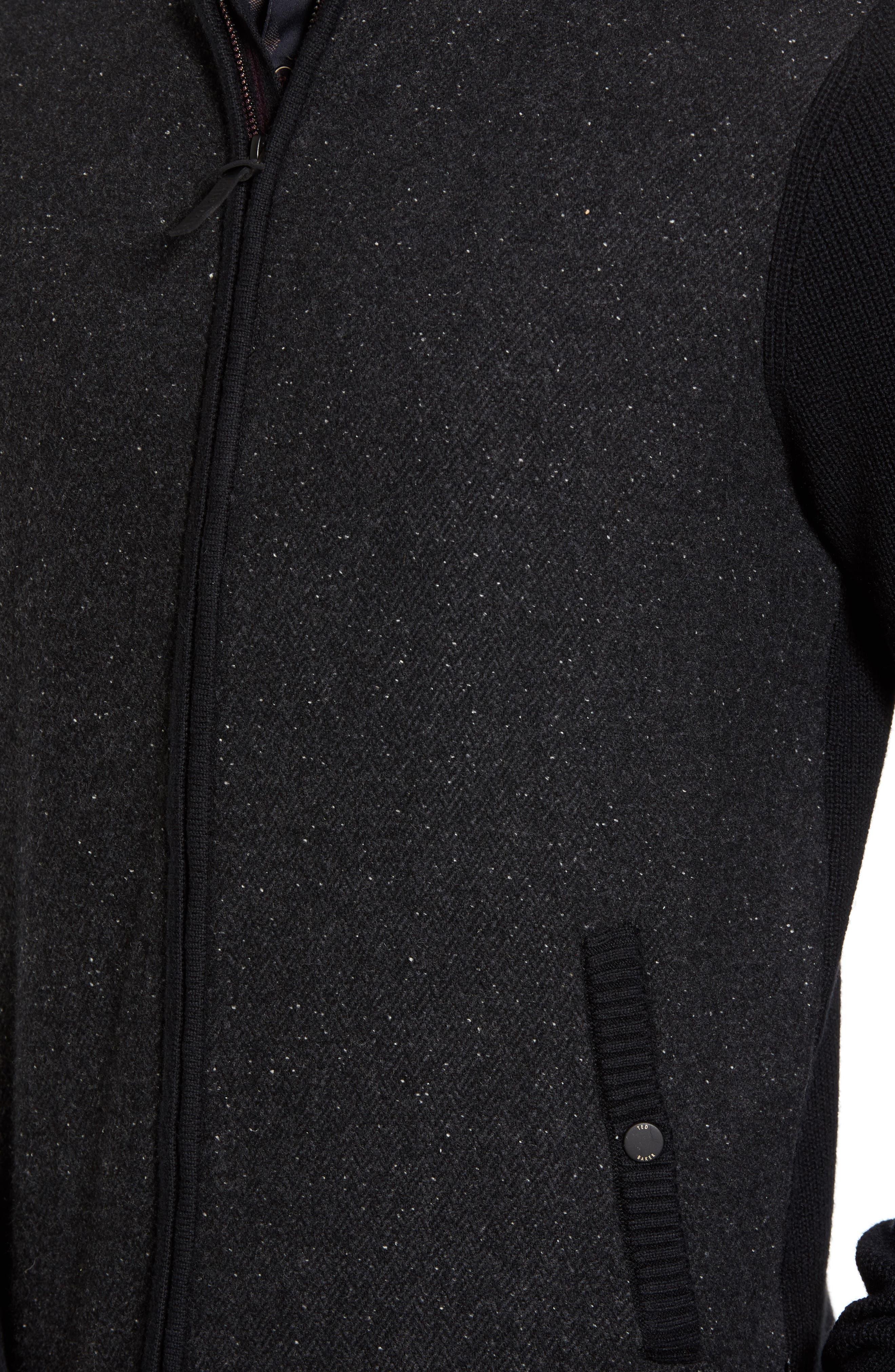 Herringbone Bomber Jacket,                             Alternate thumbnail 5, color,                             Black