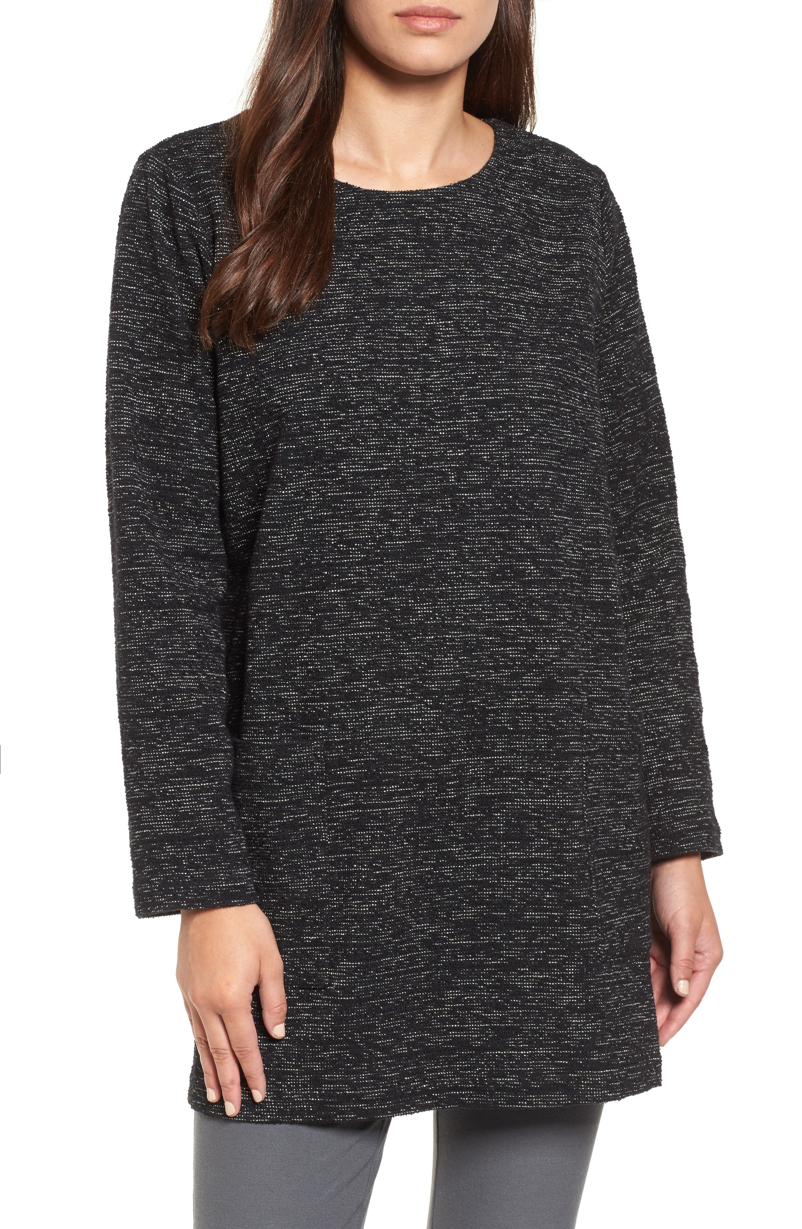 Boxy Organic Cotton Blend Tunic Sweater,                             Main thumbnail 1, color,                             Black