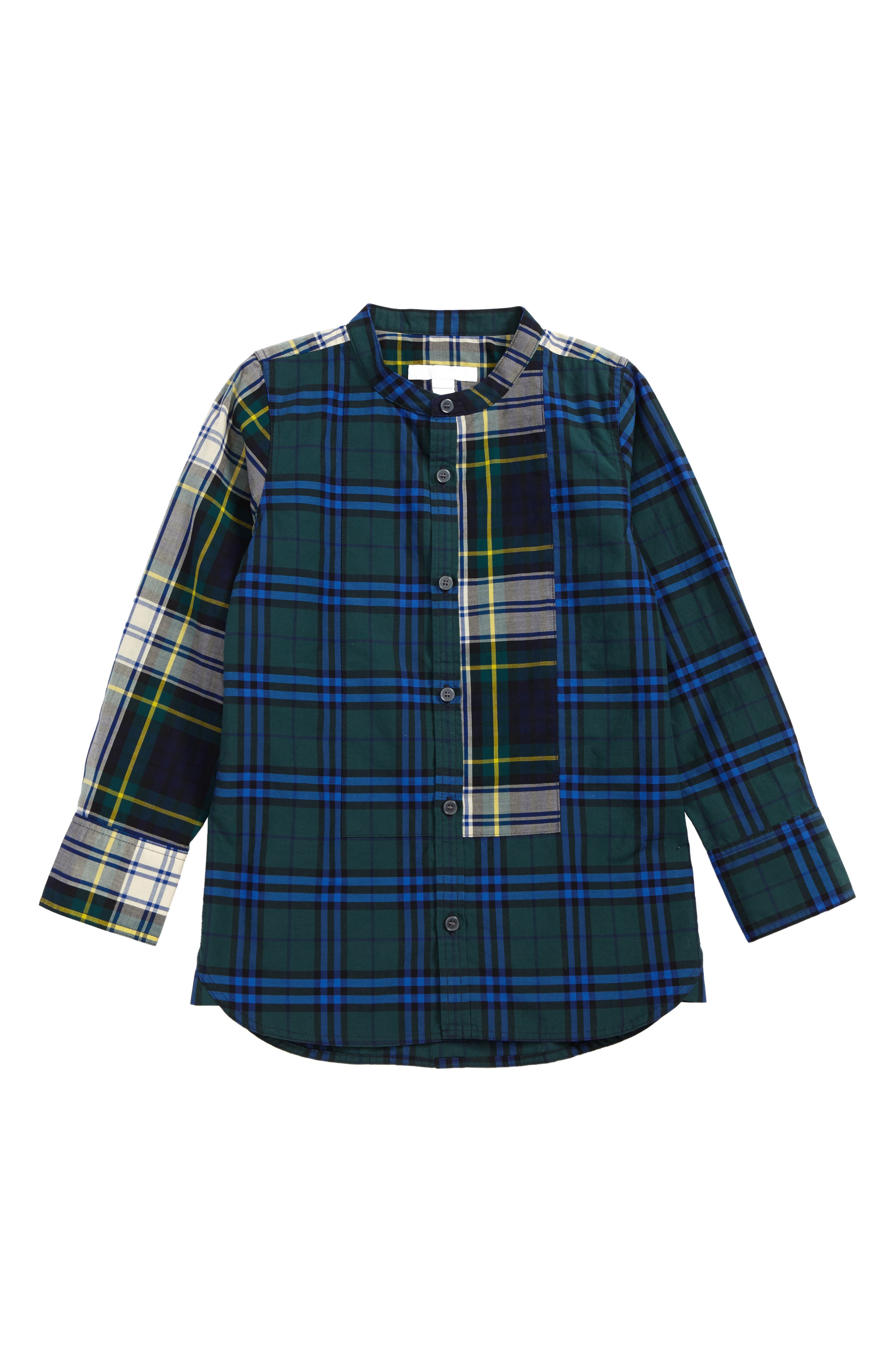 Argus Check Print Woven Shirt,                         Main,                         color, Forest Green
