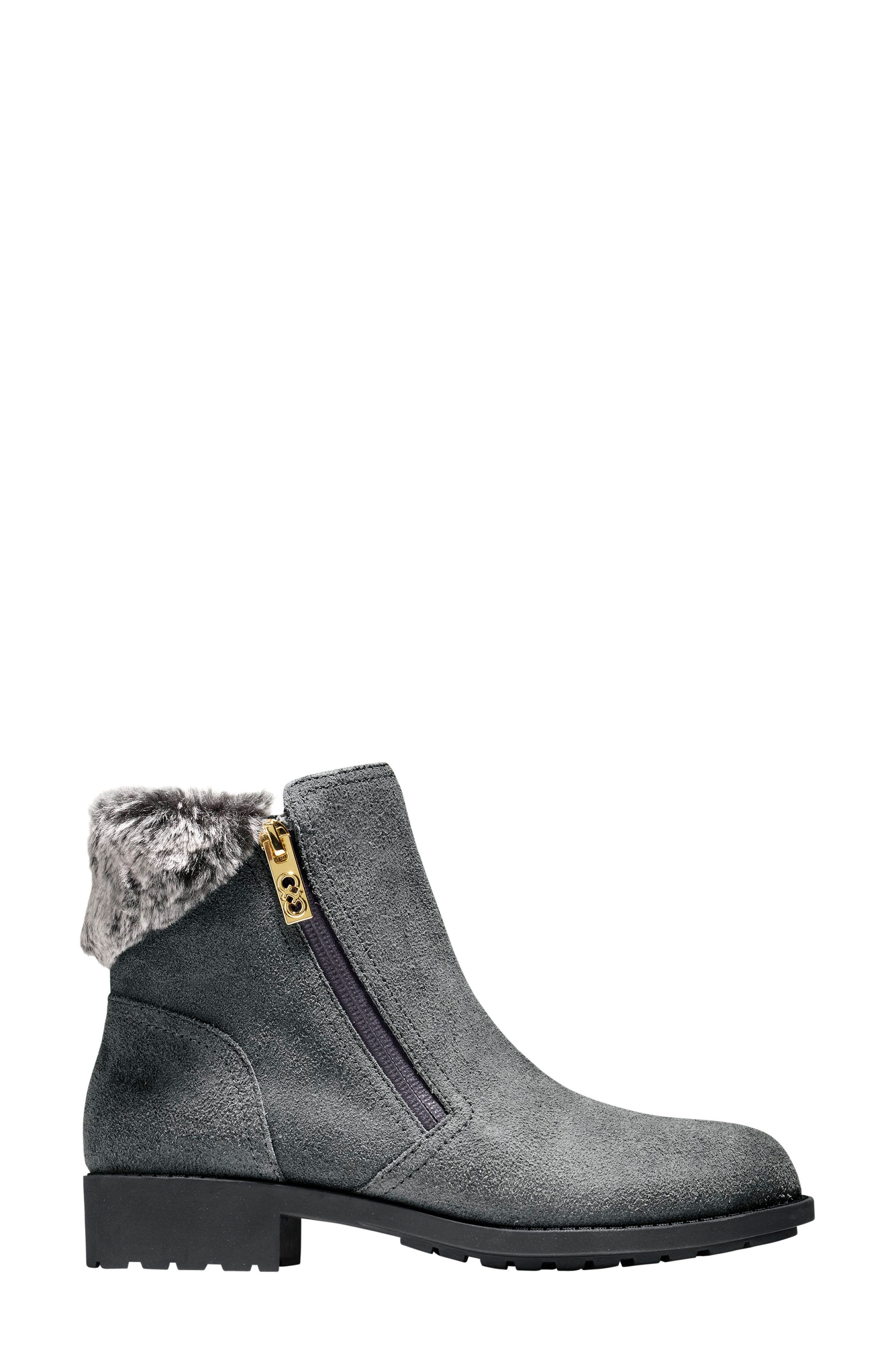 Quinney Waterproof Bootie with Faux Shearling Trim,                             Alternate thumbnail 3, color,                             Castlerock Waterproof Suede