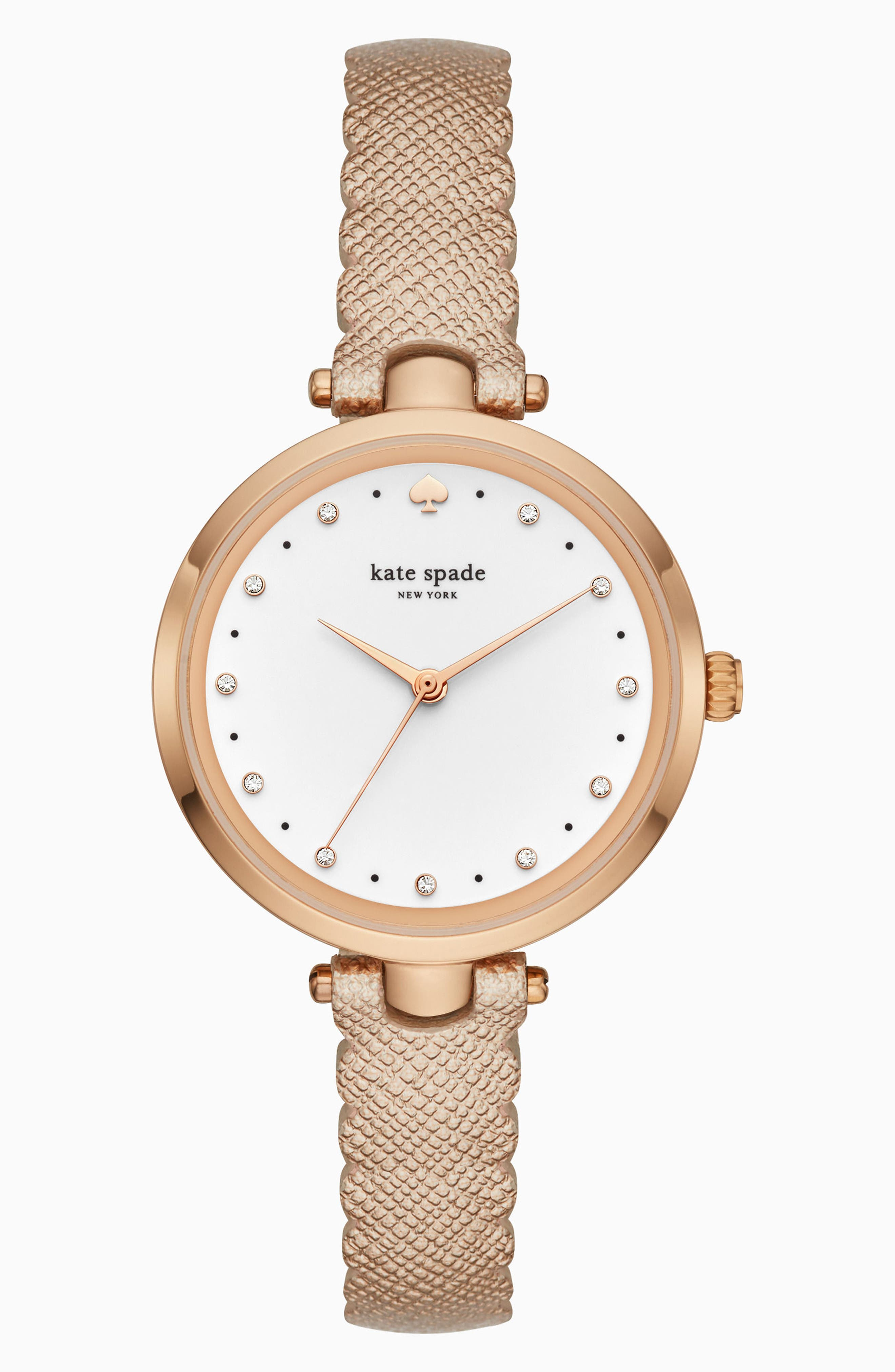 crystal accent scallop holland leather strap watch, 34mm,                         Main,                         color, Rose Gold/ White/ Rose Gold