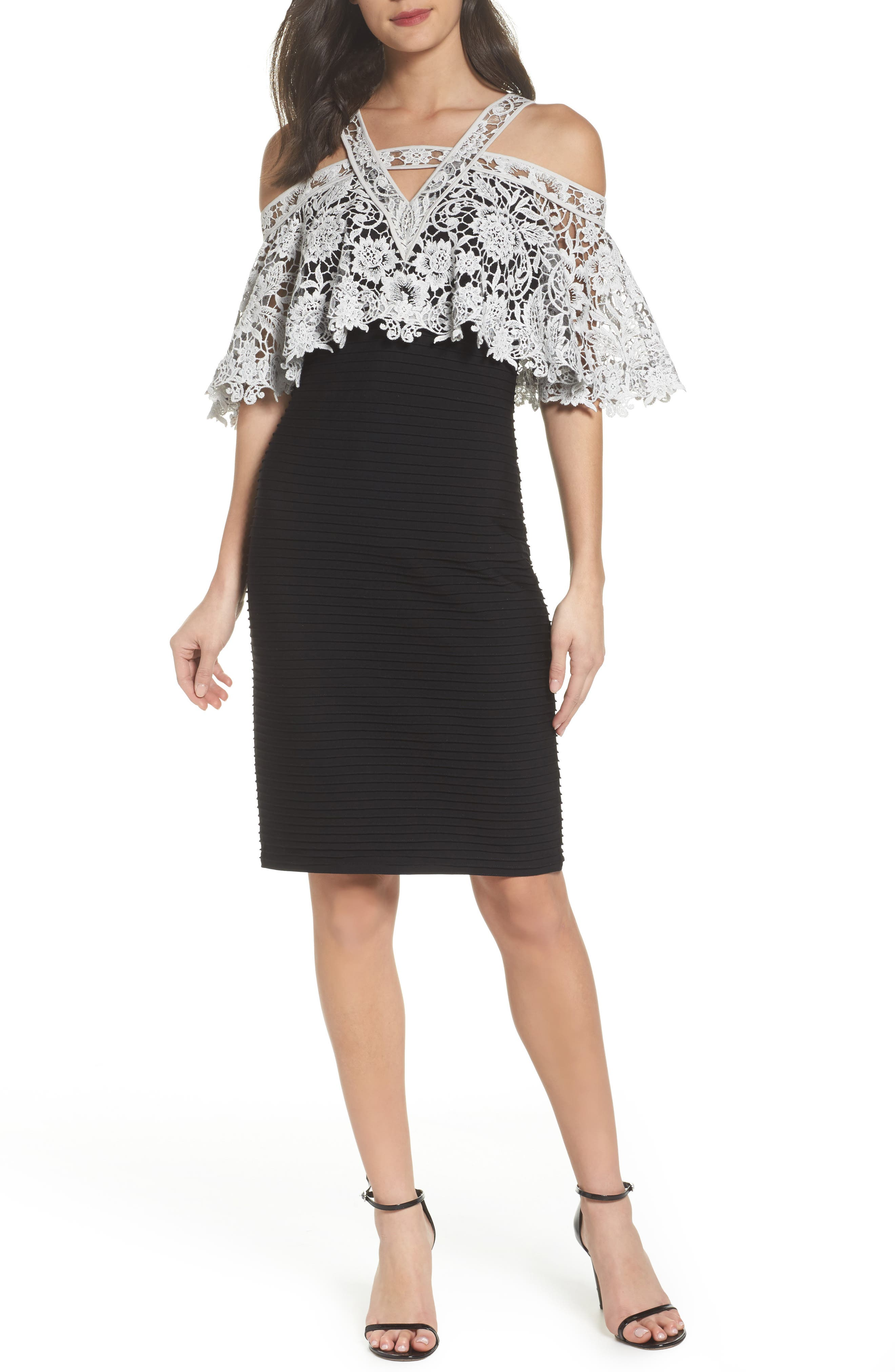 Lace & Pintuck Cocktail Dress,                         Main,                         color, Black/ Ivory