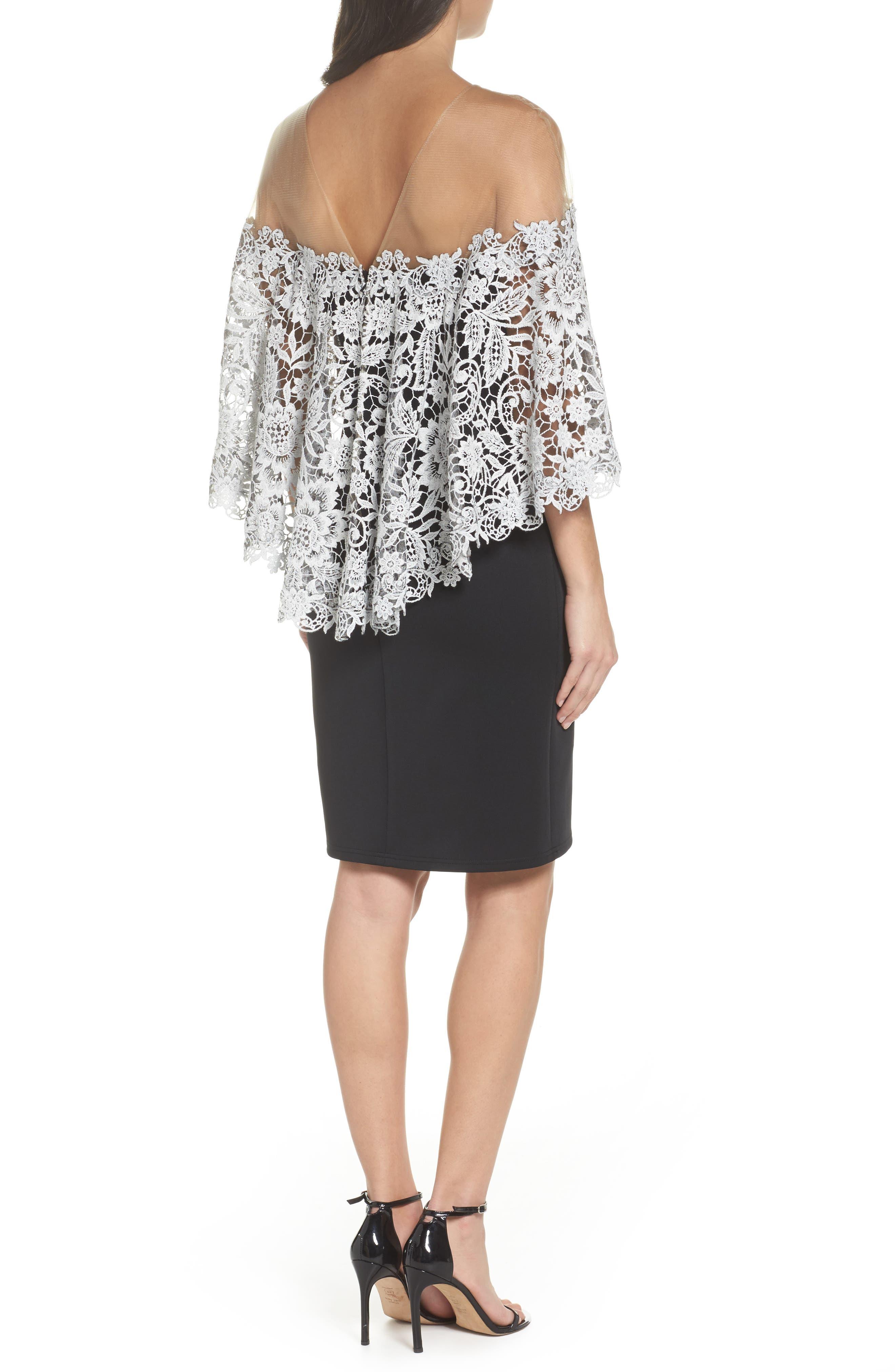 Illusion Neck Cape Dress,                             Alternate thumbnail 2, color,                             Black/ Ivory
