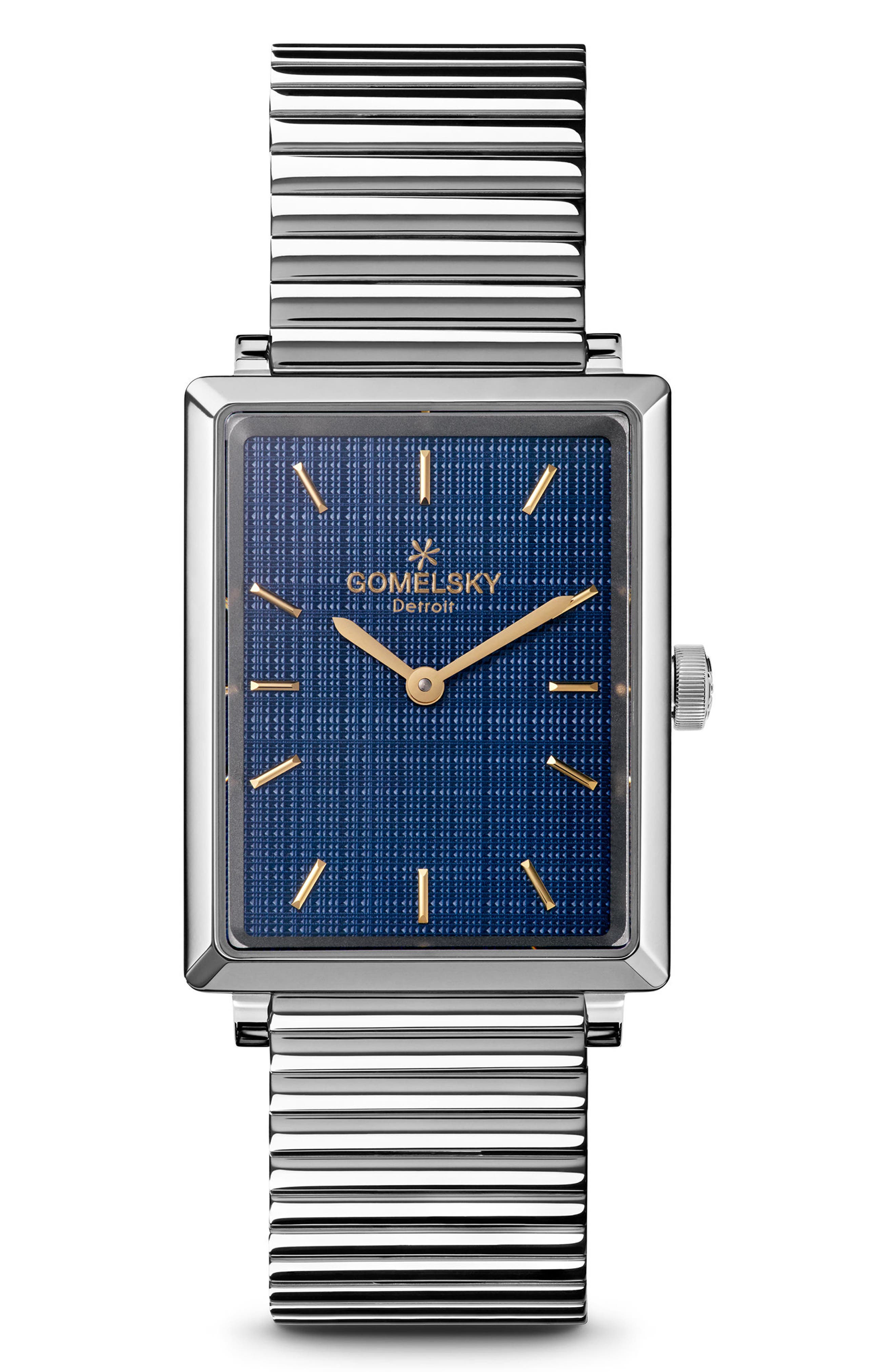 The Shirley Fromer Bracelet Watch, 32mm x 25mm,                             Main thumbnail 1, color,                             Silver/ Blue/ Silver