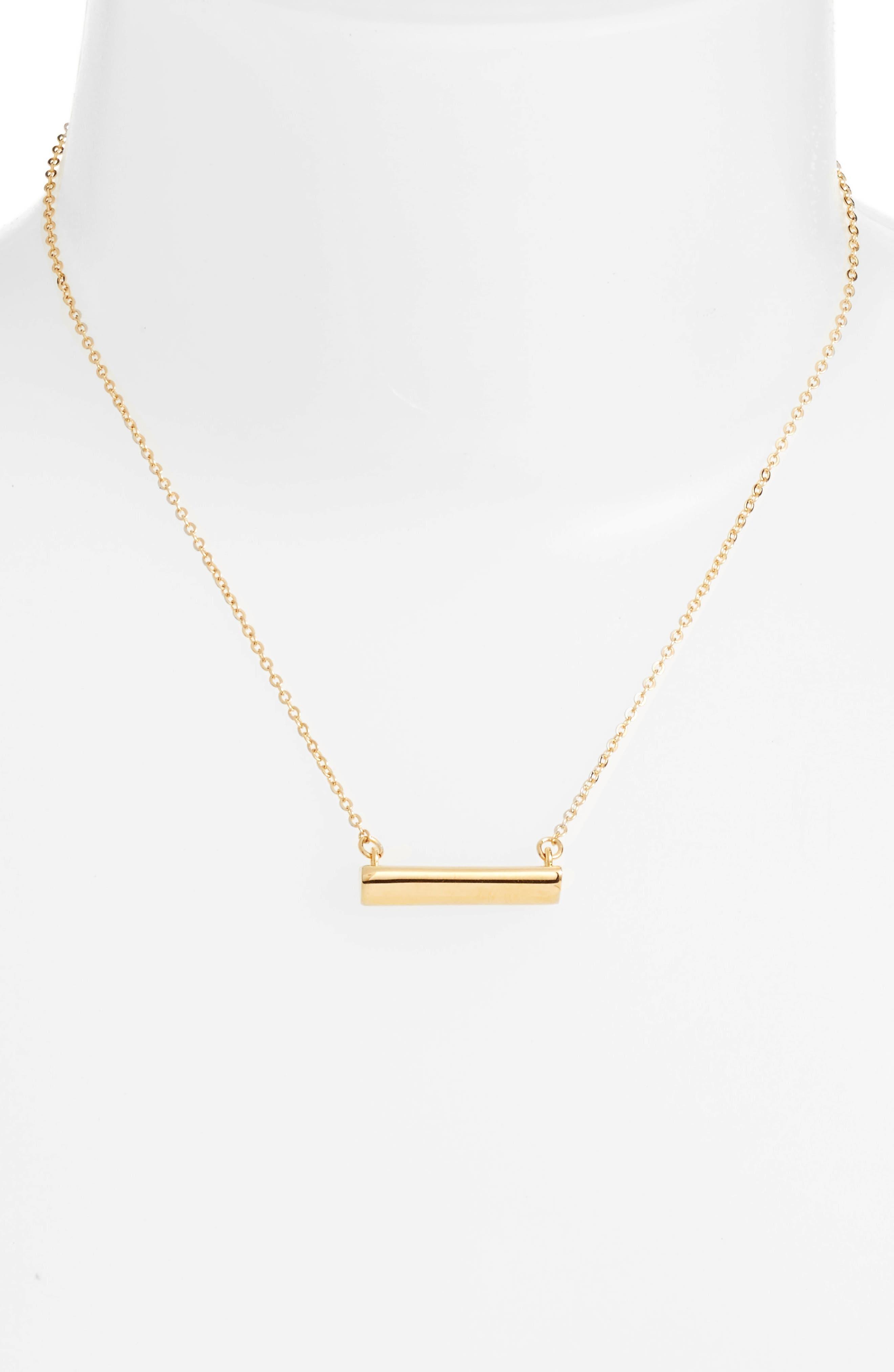 Heart Shaped Bar Pendant Necklace,                             Alternate thumbnail 2, color,                             Gold