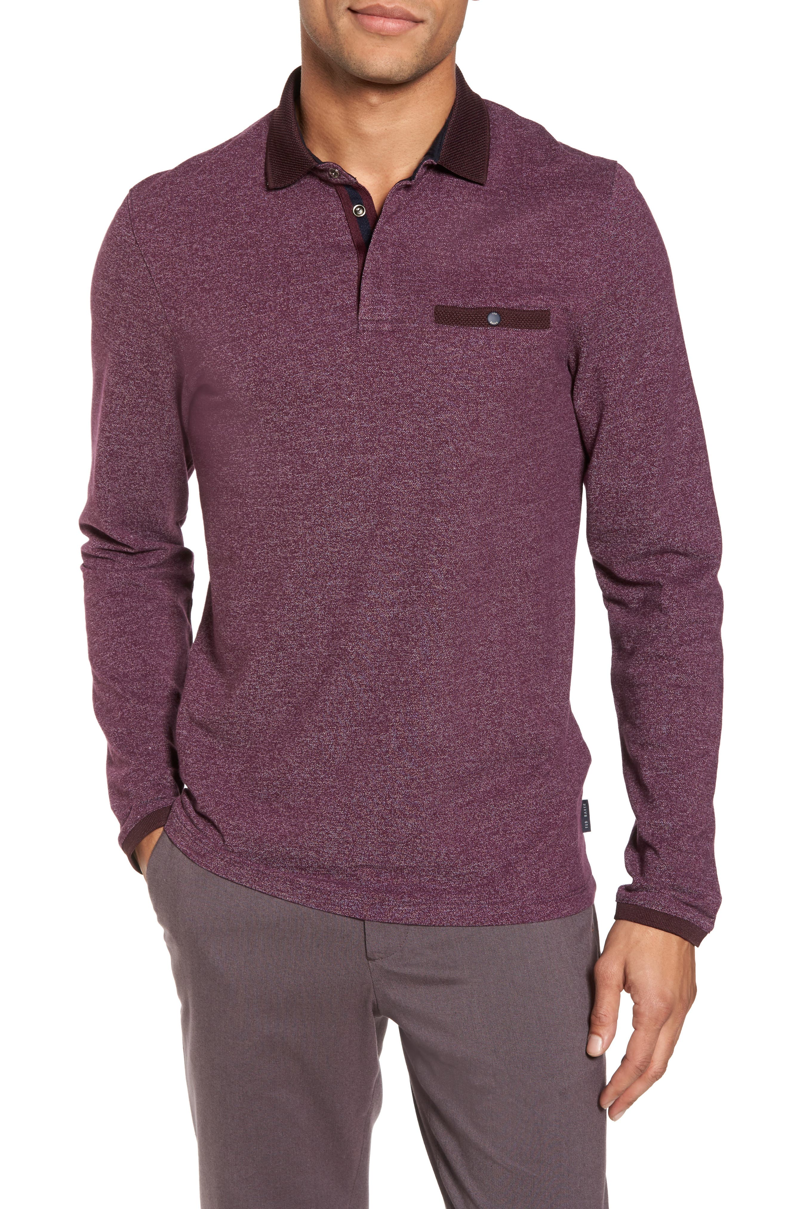 Main Image - Ted Baker London Chella Trim Fit Long Sleeve Polo