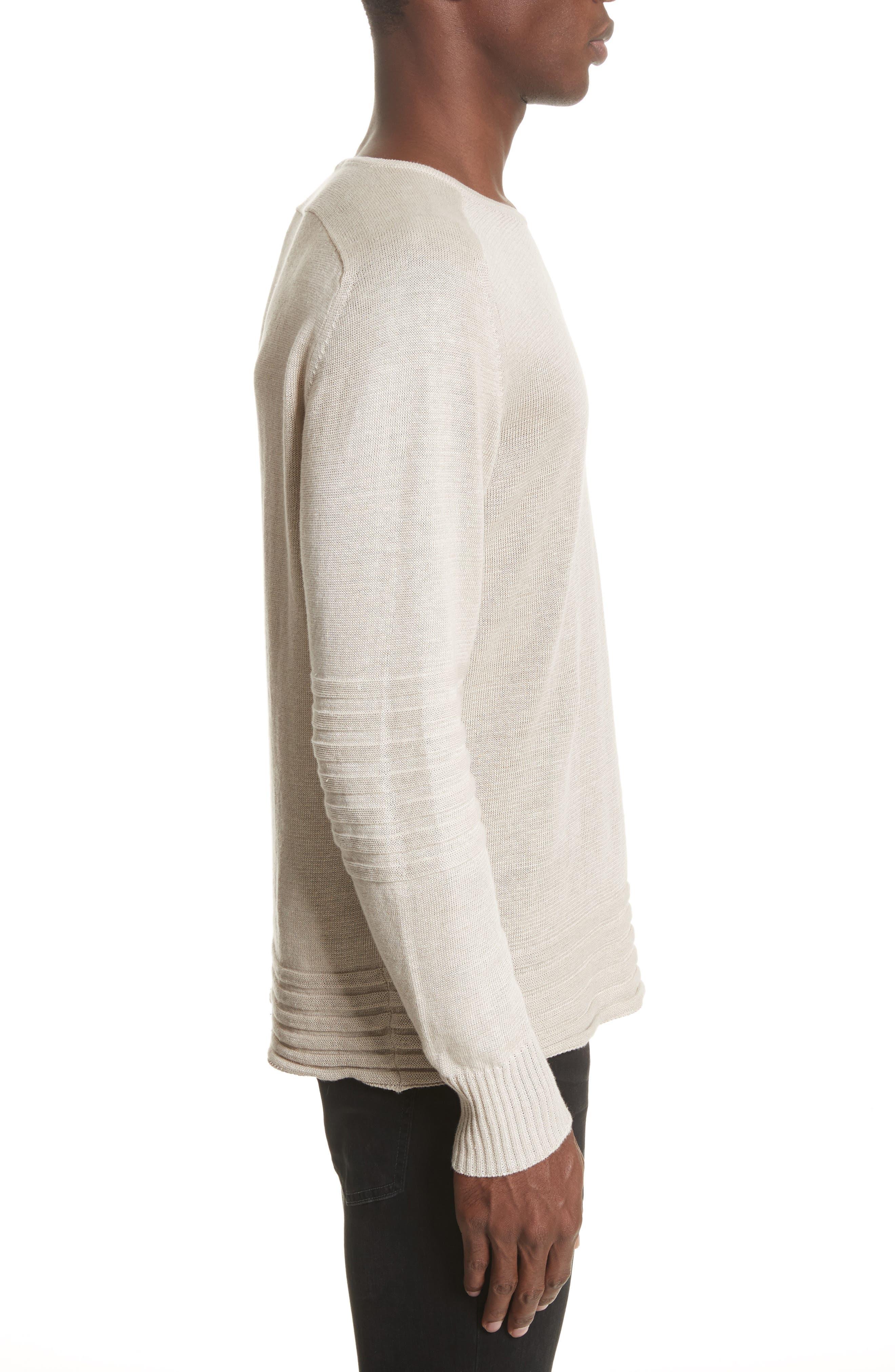 Exford Linen Crewneck Sweater,                             Alternate thumbnail 4, color,                             Light Sand