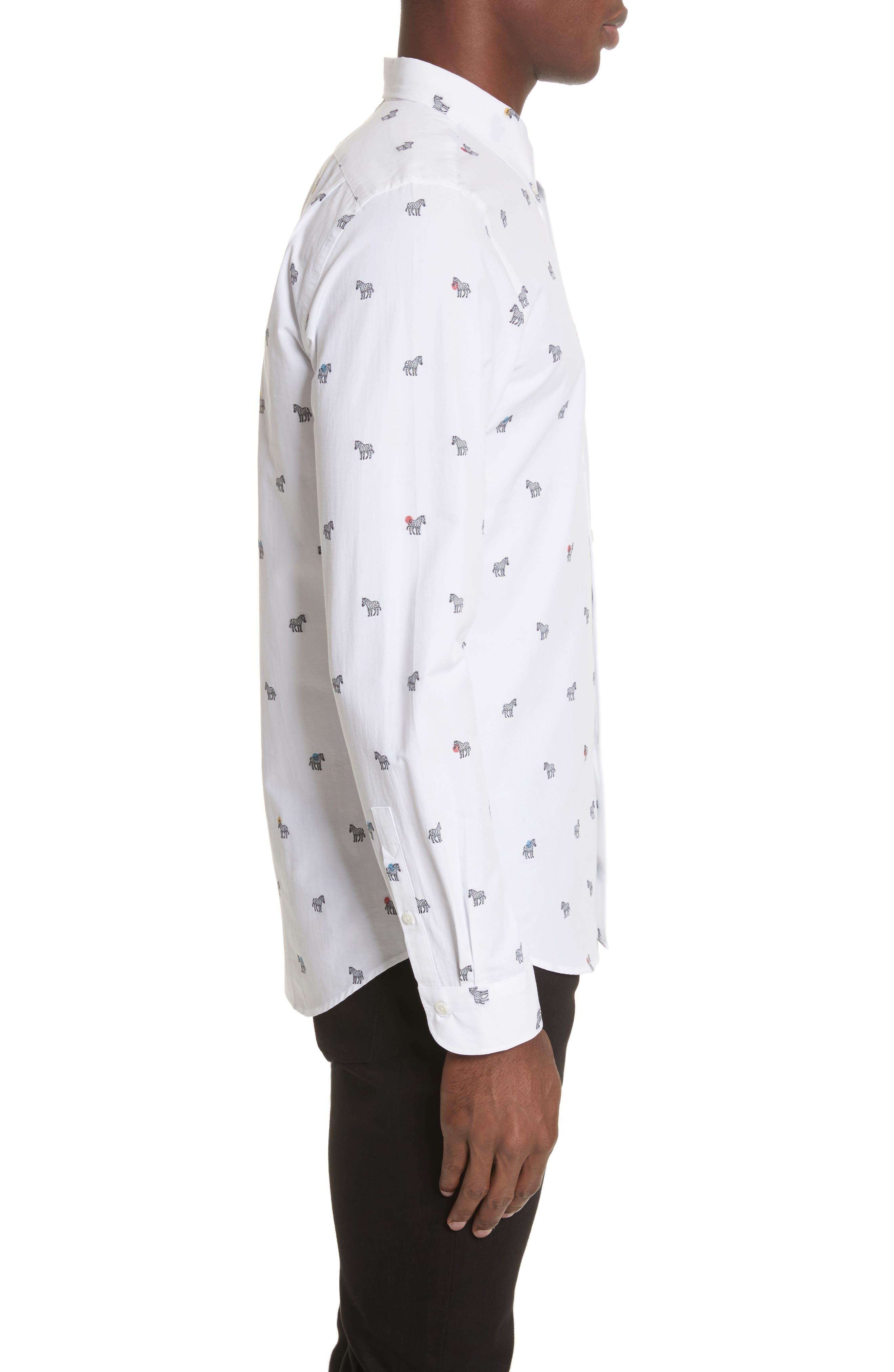 Allover Zebra Woven Shirt,                             Alternate thumbnail 4, color,                             White