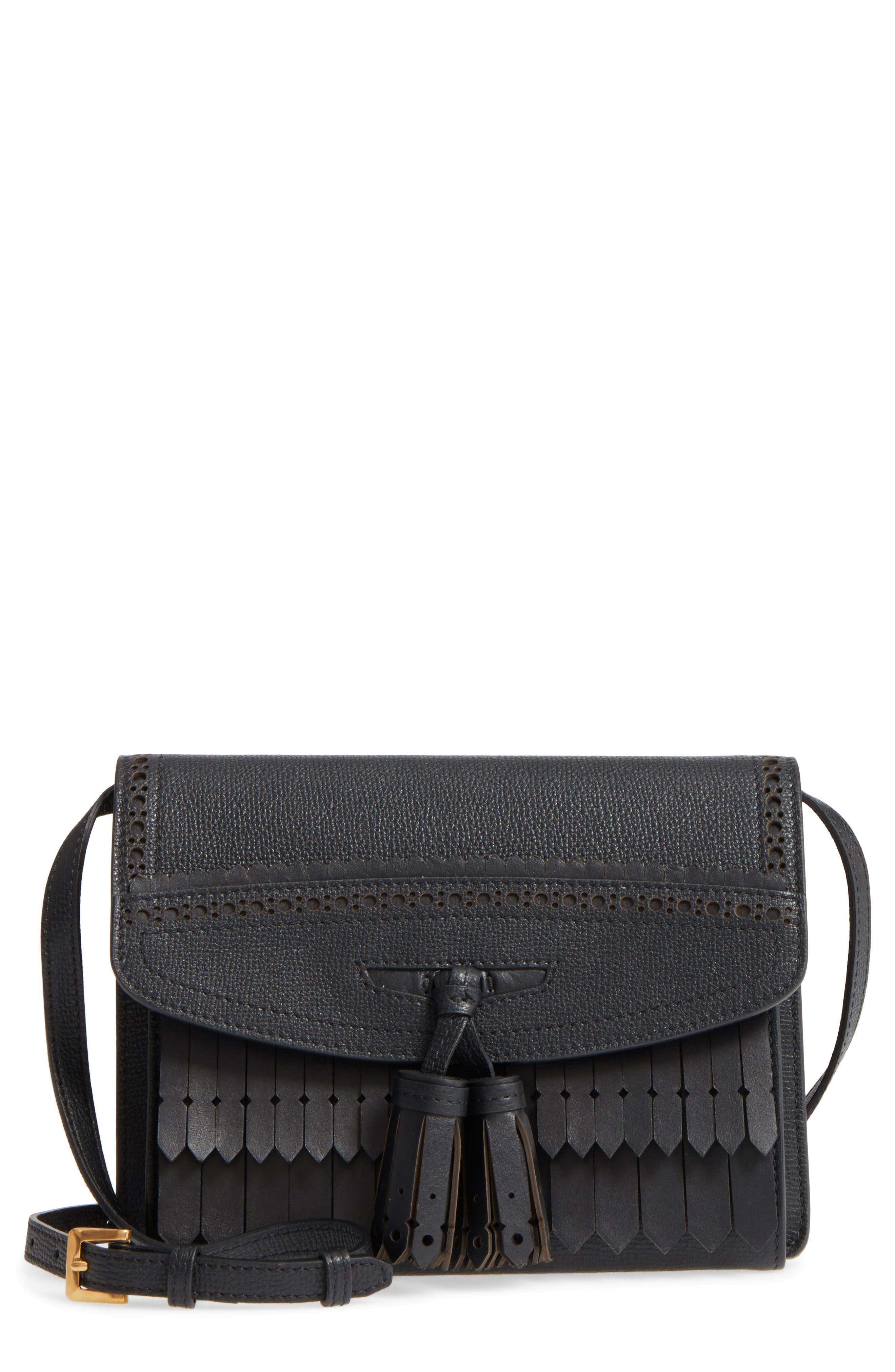 Macken Fringe Leather Crossbody Bag,                         Main,                         color, Black