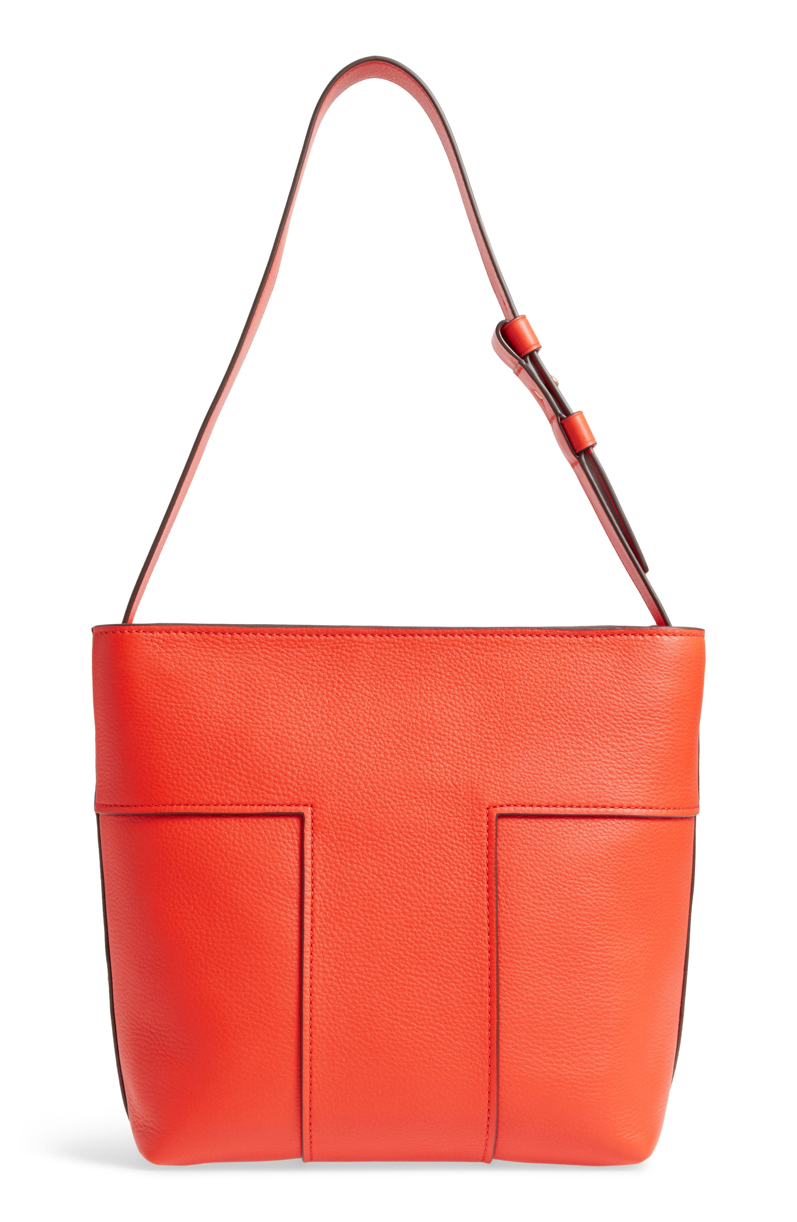 Block-T Pebbled Leather Hobo,                             Alternate thumbnail 3, color,                             Spicy Orange