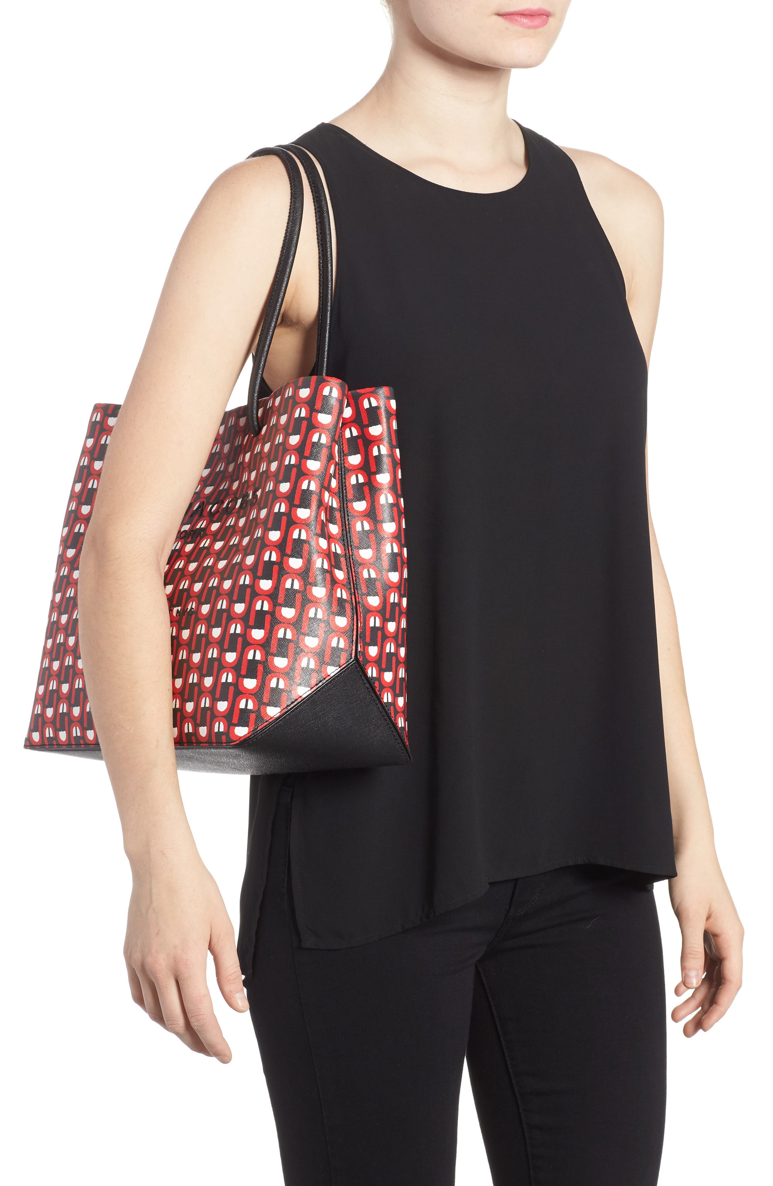Logo Scream Leather East/West Tote,                             Alternate thumbnail 2, color,                             Red Multi