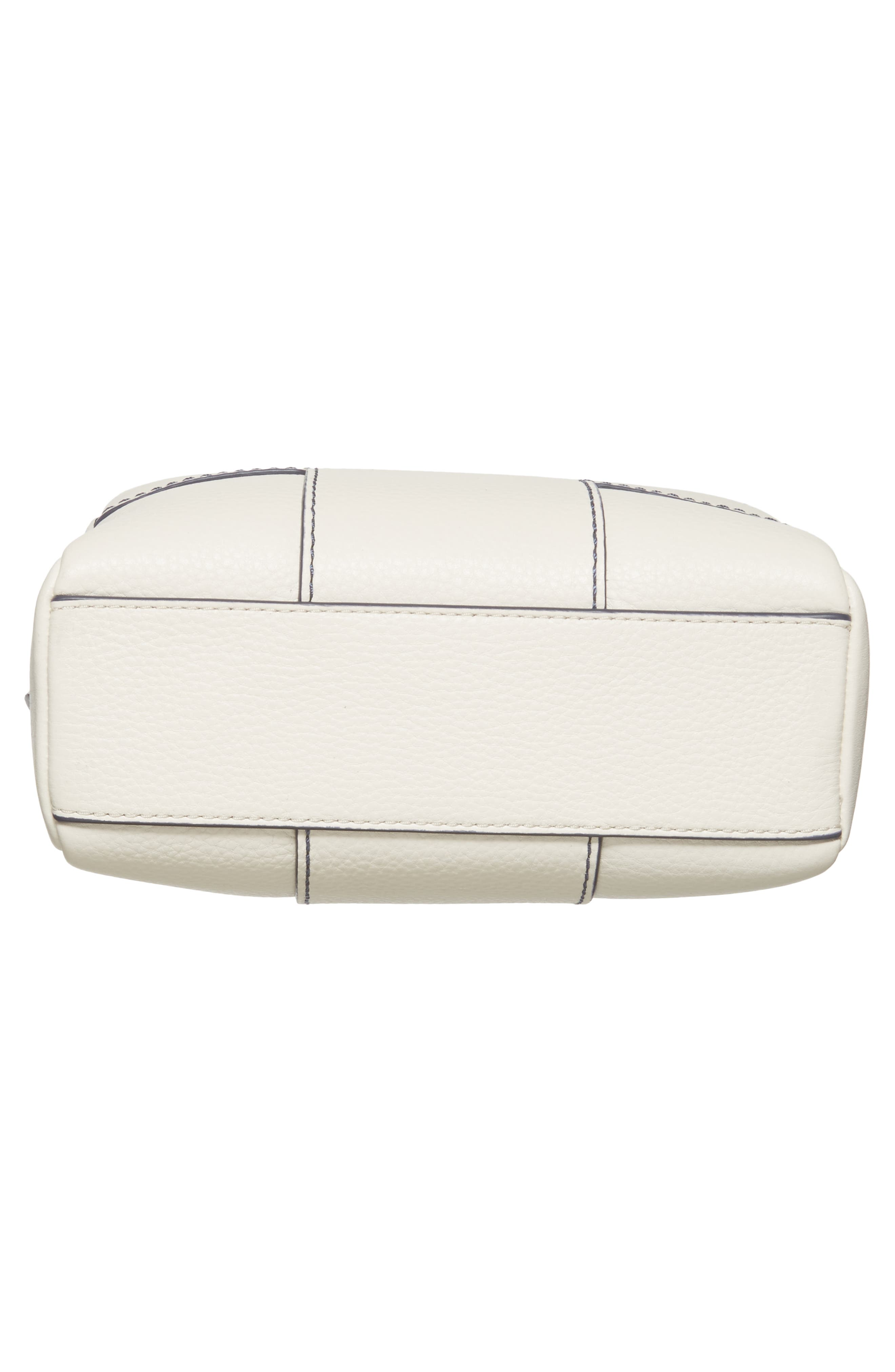 Block-T Double Zip Leather Crossbody Bag,                             Alternate thumbnail 6, color,                             New Ivory