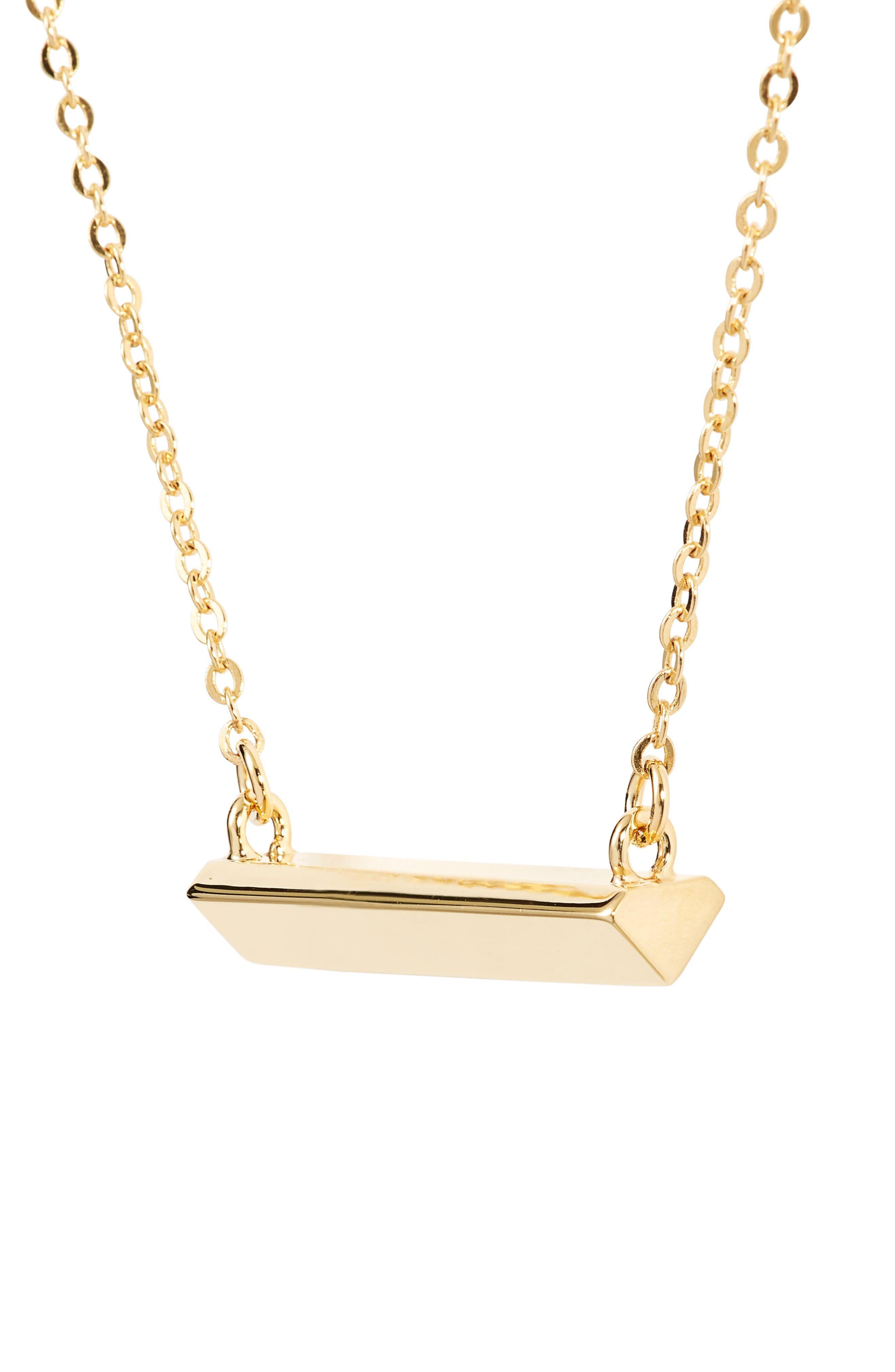 Diamond Shaped Bar Pendant Necklace,                             Alternate thumbnail 3, color,                             Gold