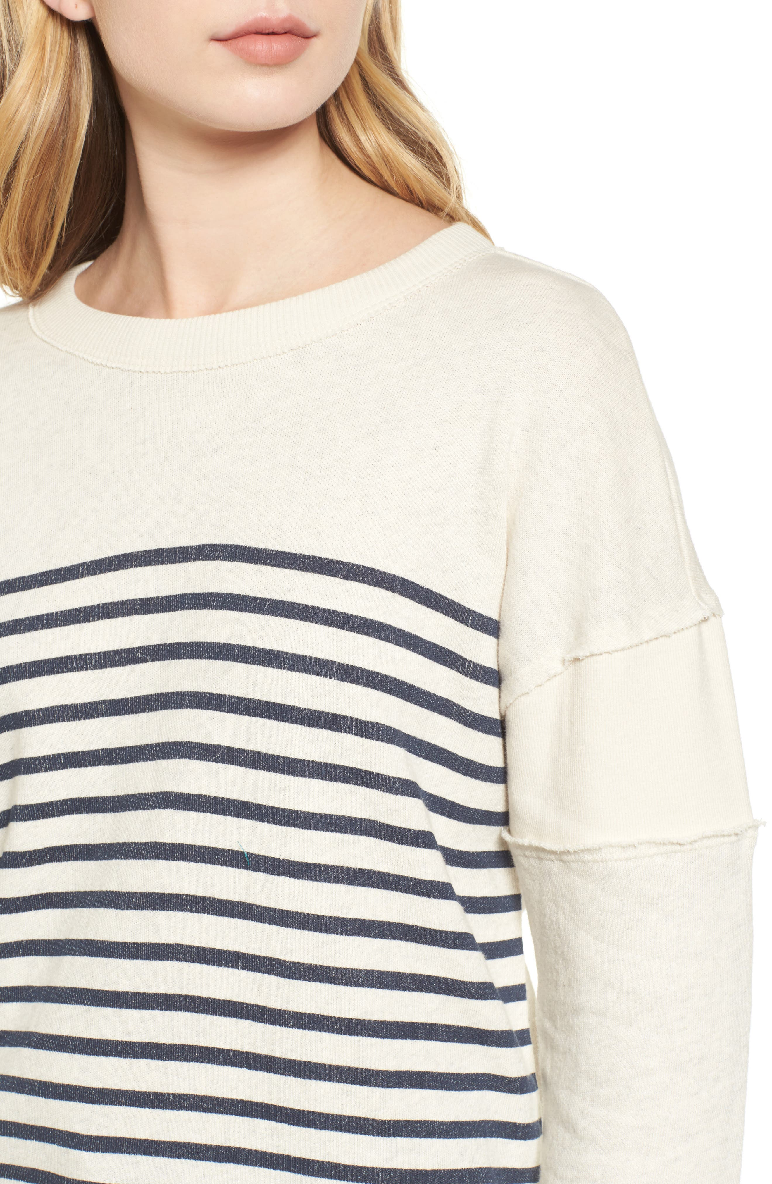 Seabrook Stripe Sweatshirt,                             Alternate thumbnail 4, color,                             Natural