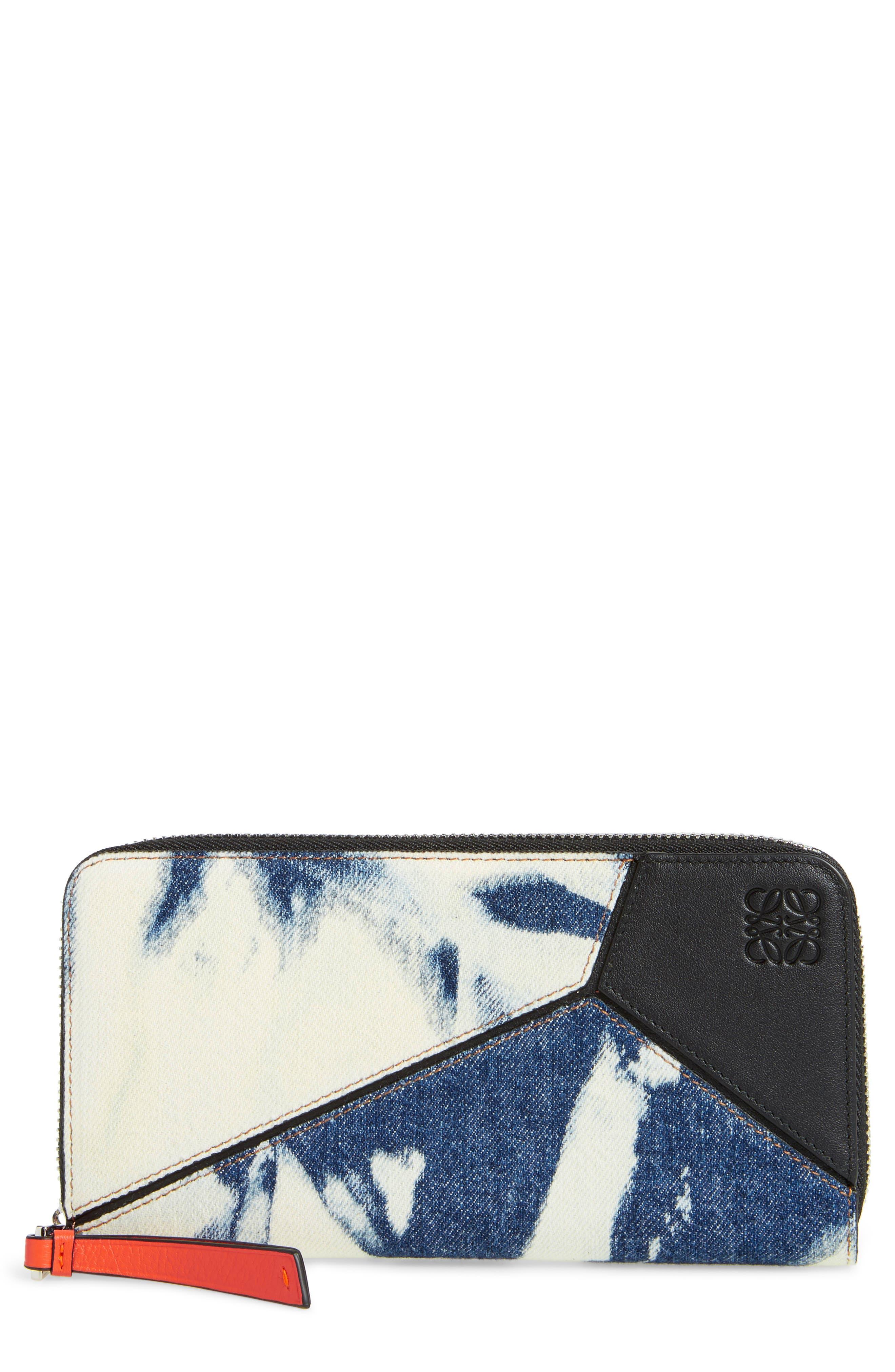 Denim Puzzle Zip Around Leather Wallet,                         Main,                         color, Blue Denim/ White/ Black
