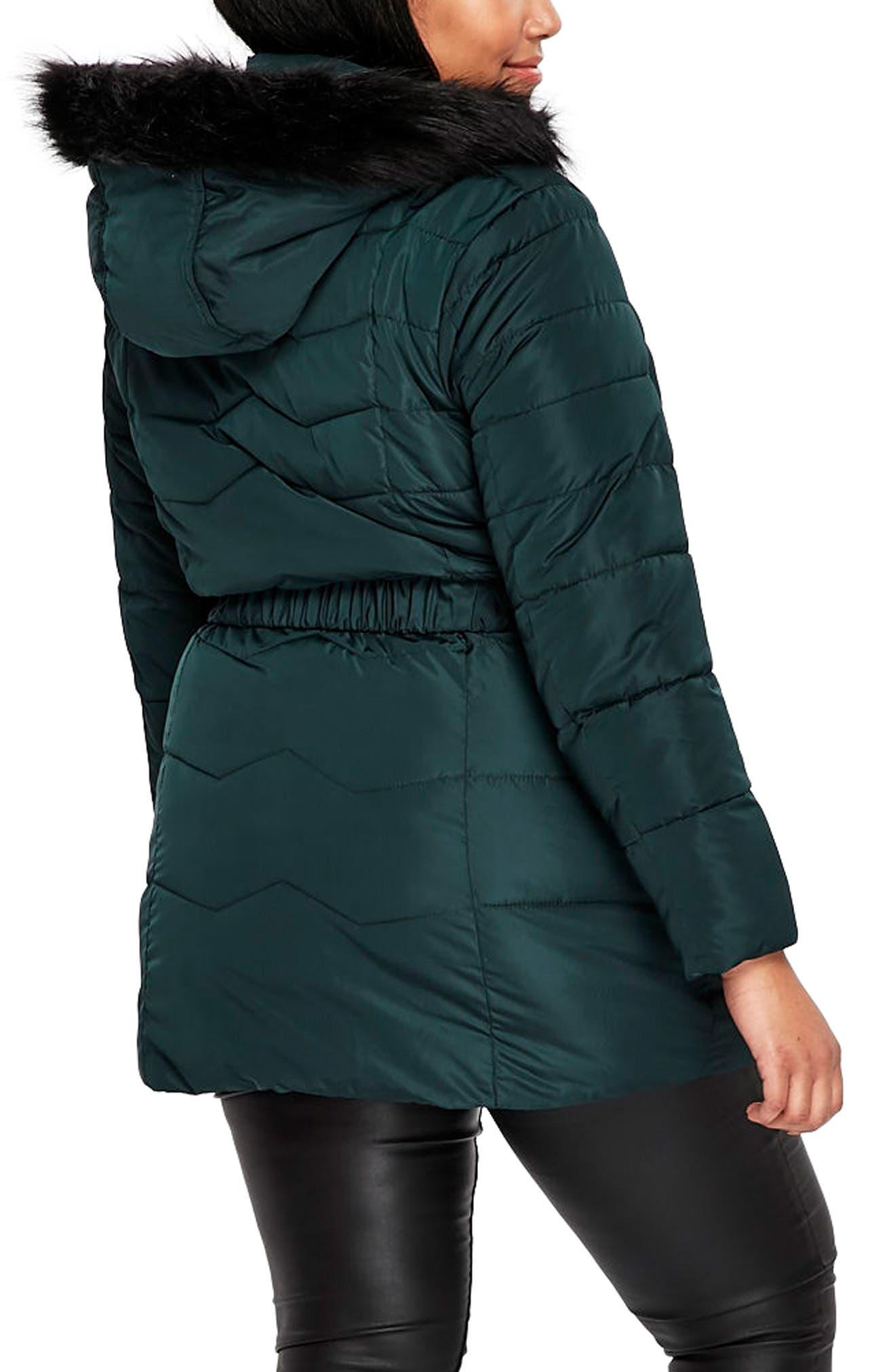 Padded Coat with Faux Fur Trim,                             Alternate thumbnail 3, color,                             Dark Green