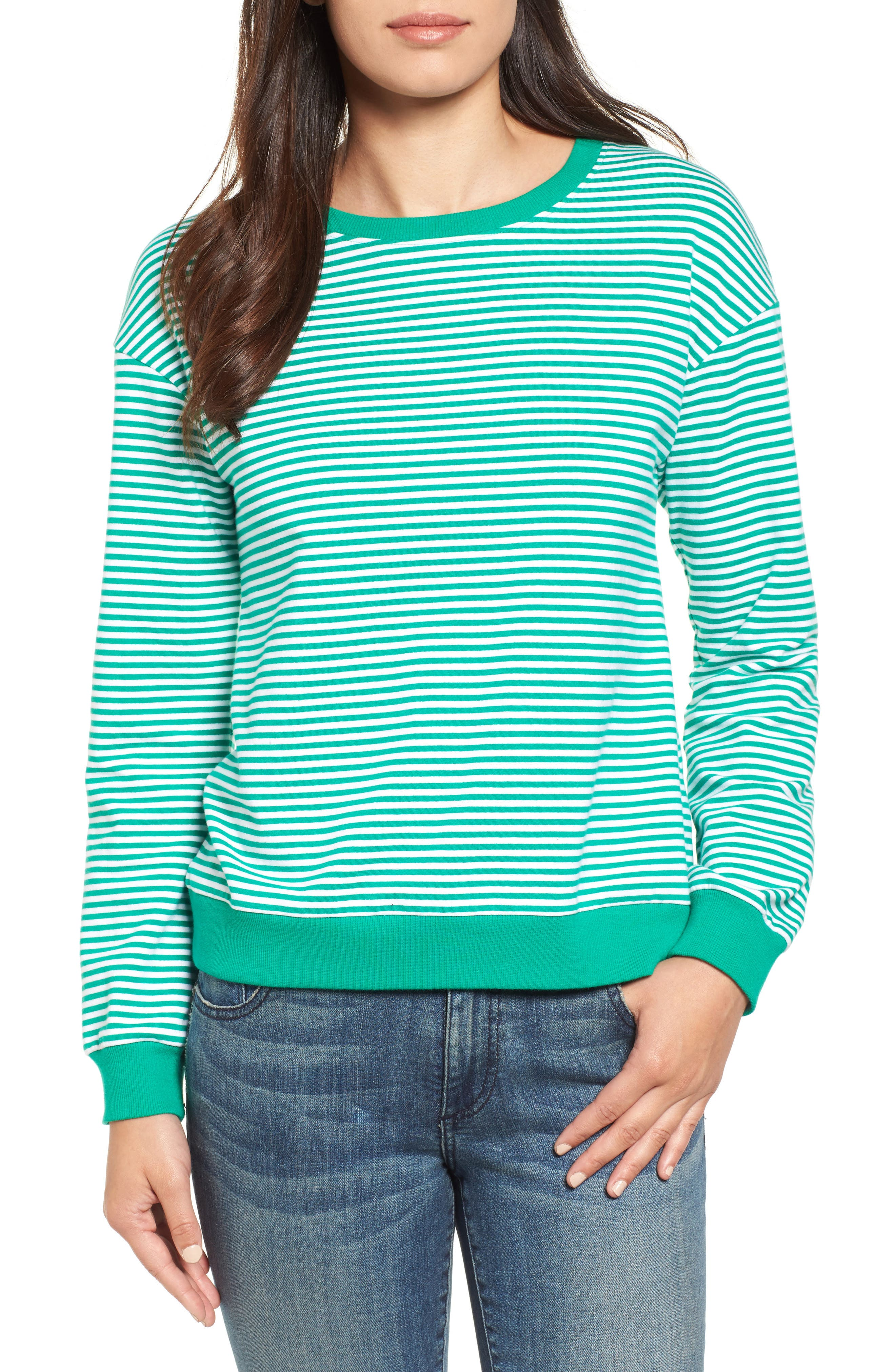 Lace-Up Knit Top,                             Main thumbnail 1, color,                             Green- White Stripe