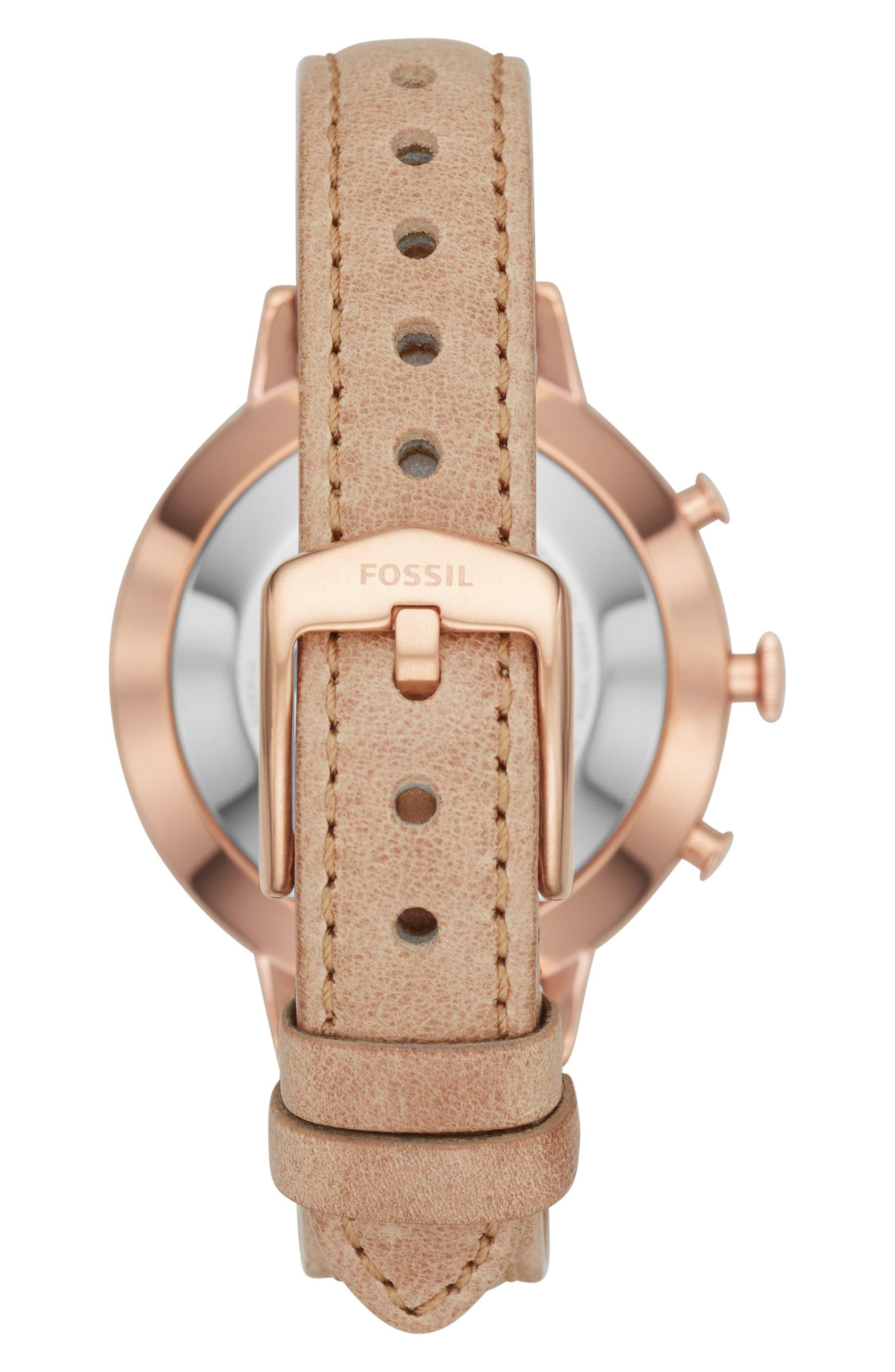 Jacqueline Leather Strap Hybrid Smart Watch, 36mm,                             Alternate thumbnail 2, color,                             Beige/ White/ Rose Gold