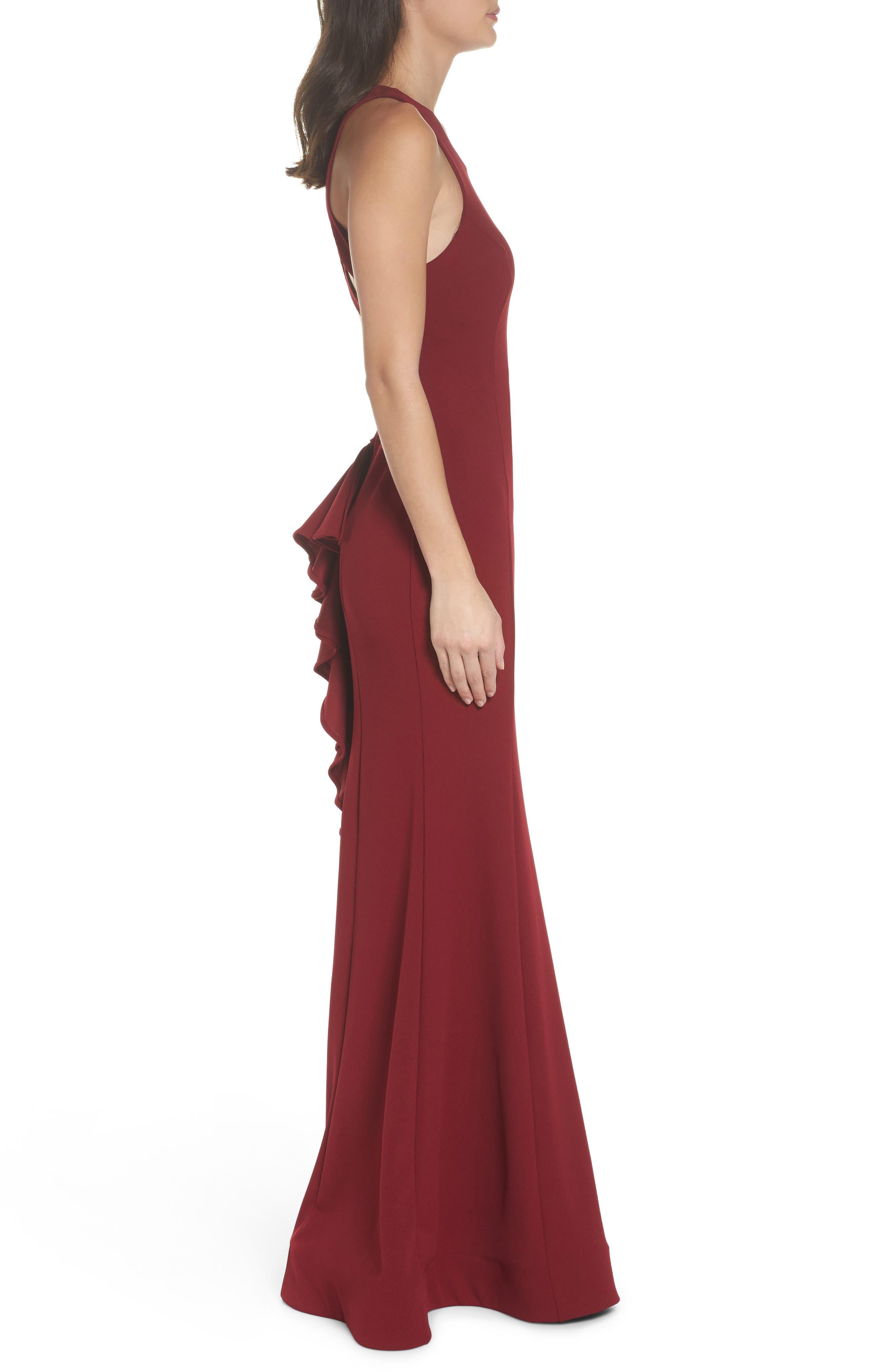 Alternate Image 3  - Sequin Hearts Ruffle Back Scuba Gown