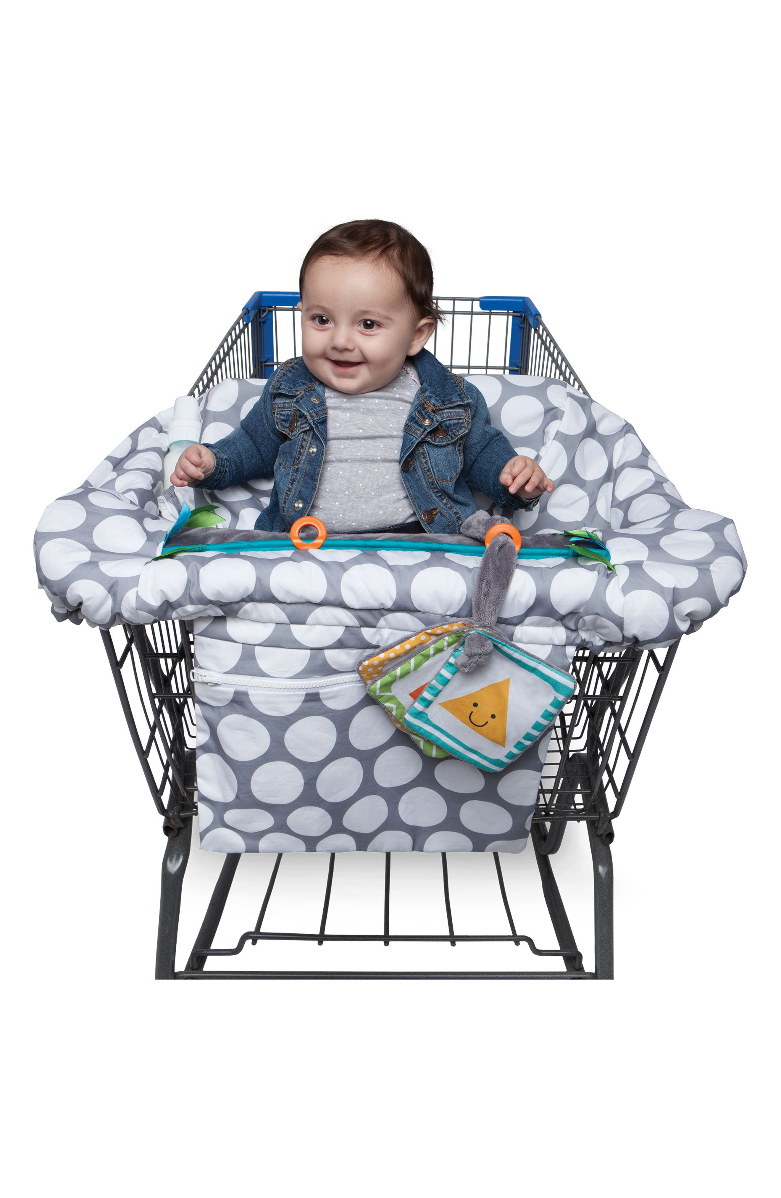 Luxe Shopping Cart Cover,                             Alternate thumbnail 7, color,                             Jumbo Dots Gray