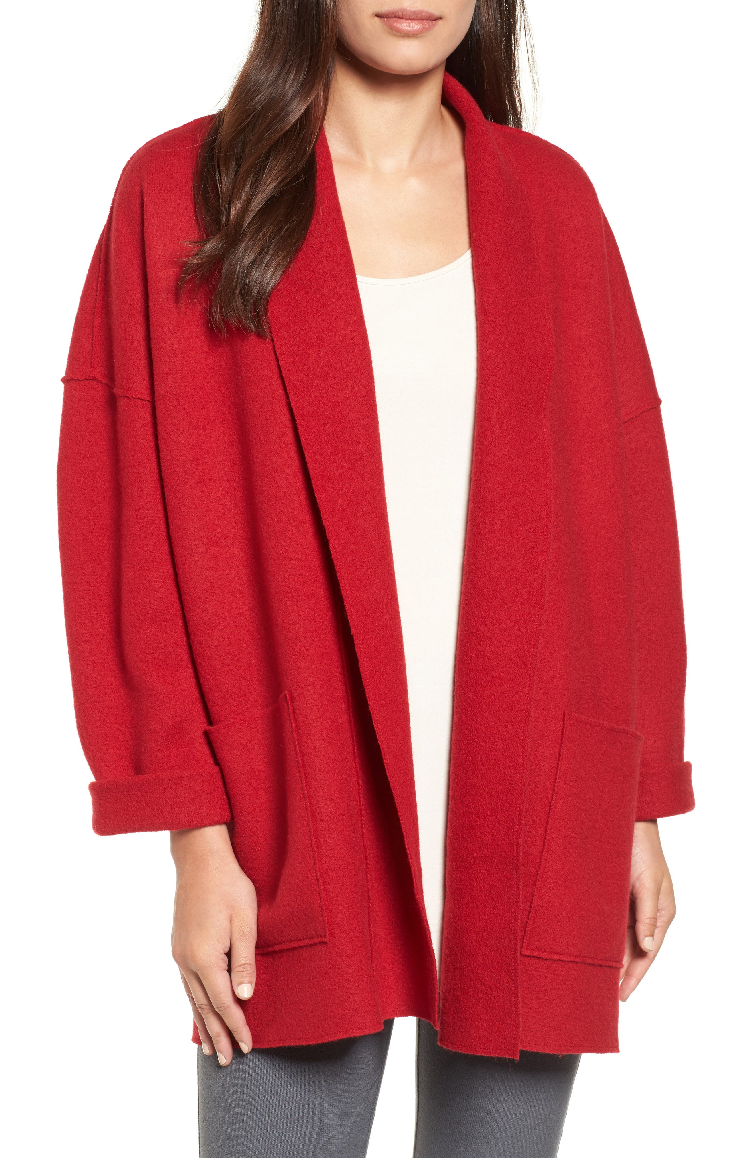 Main Image - Eileen Fisher Boiled Wool Shawl Collar Jacket (Regular & Petite)