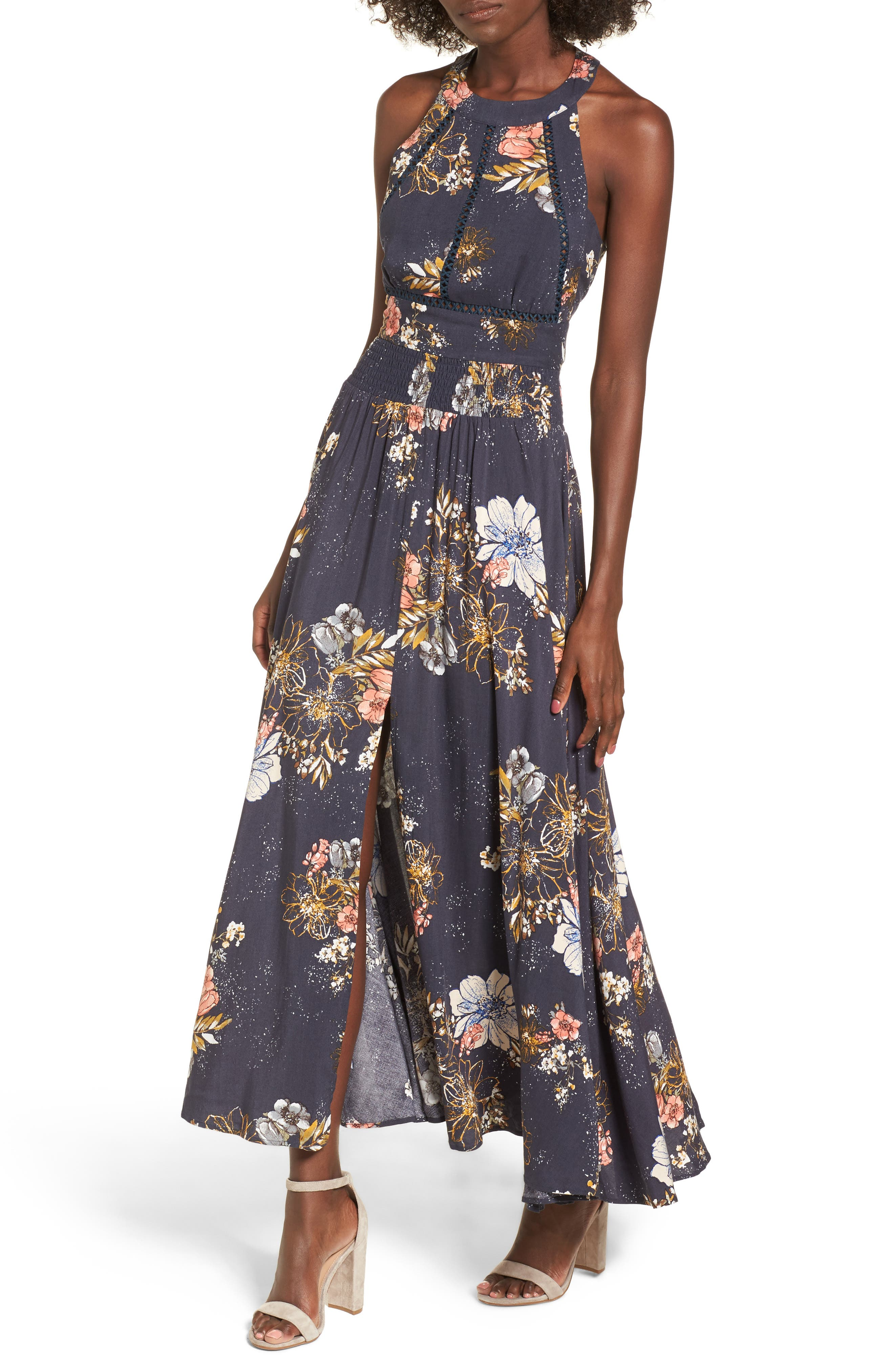 Floral Print Halter Maxi Dress,                         Main,                         color, Navy Egret Abstract Floral