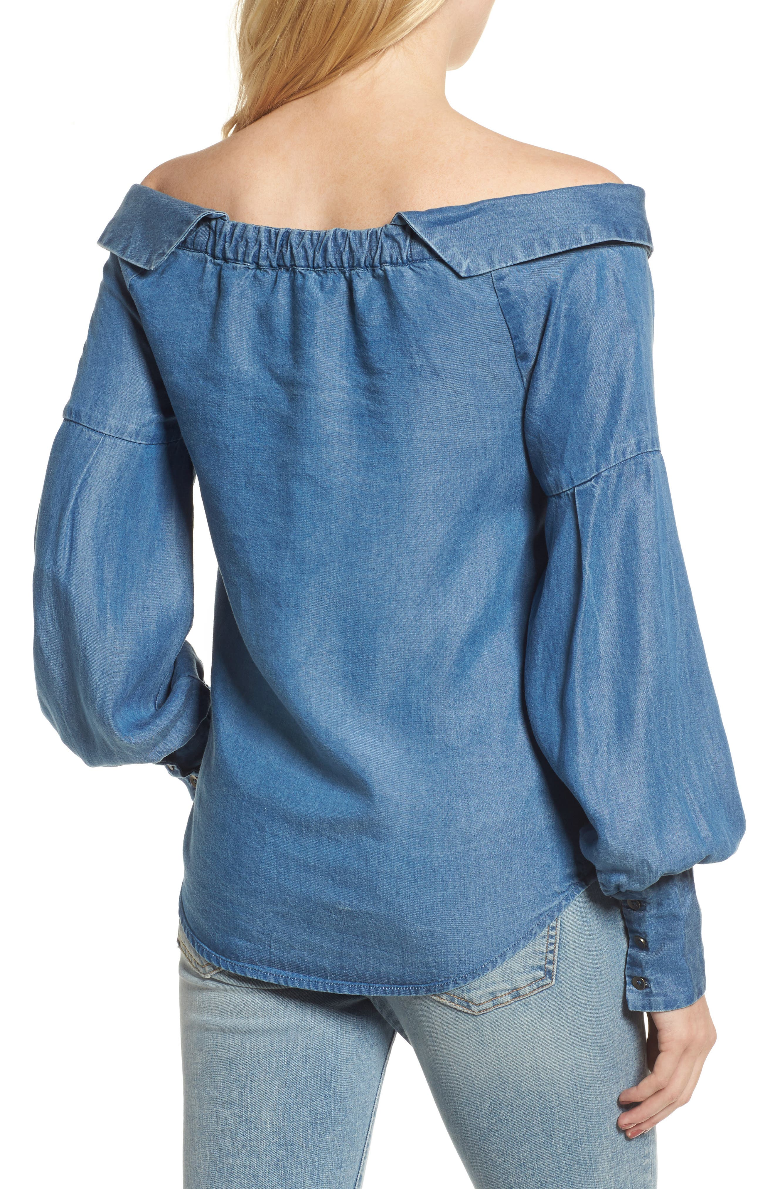 Off the Shoulder Chambray Top,                             Alternate thumbnail 2, color,                             Med Wash