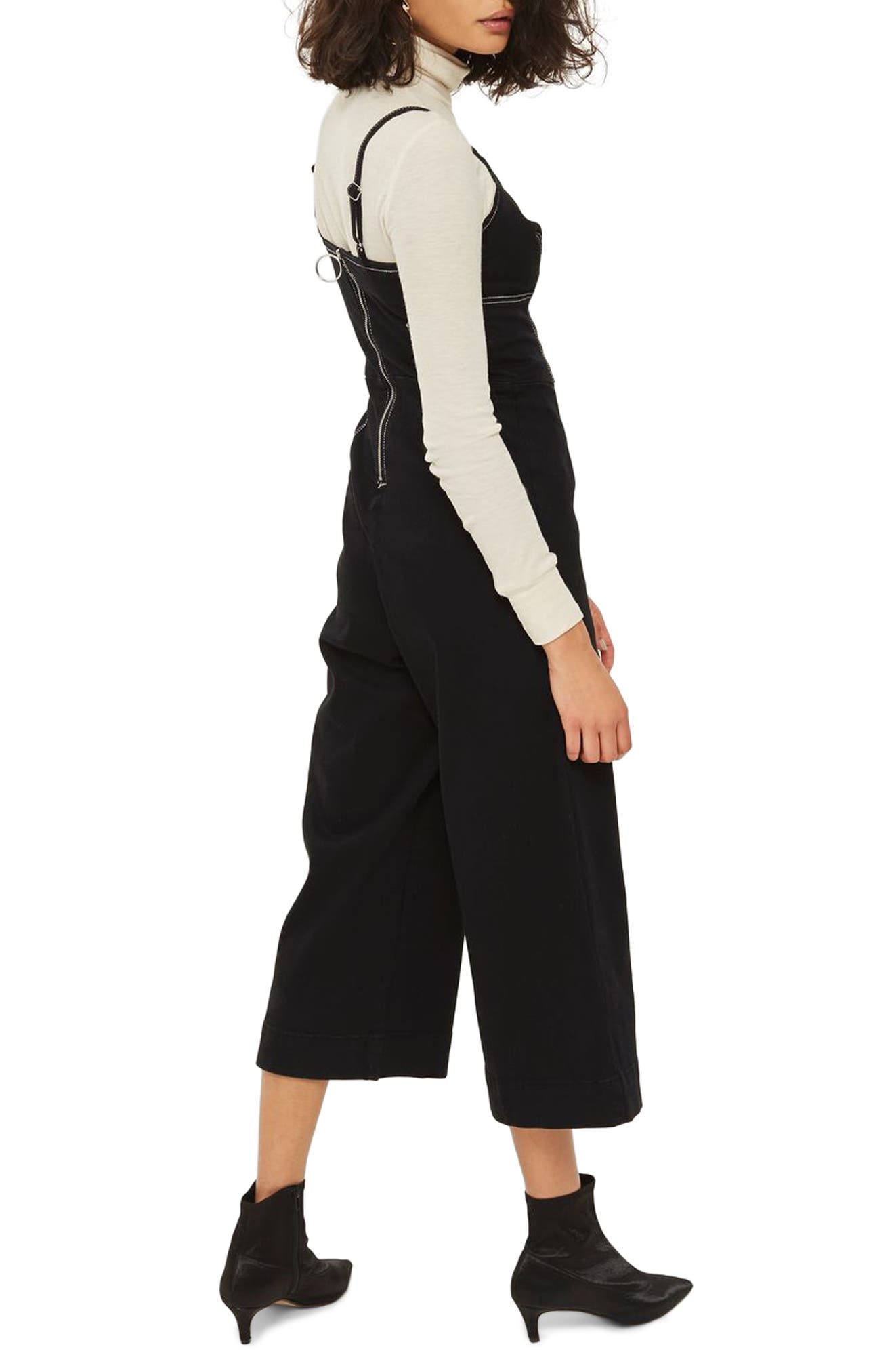 Contrast Stitch Jumpsuit,                             Alternate thumbnail 2, color,                             Black