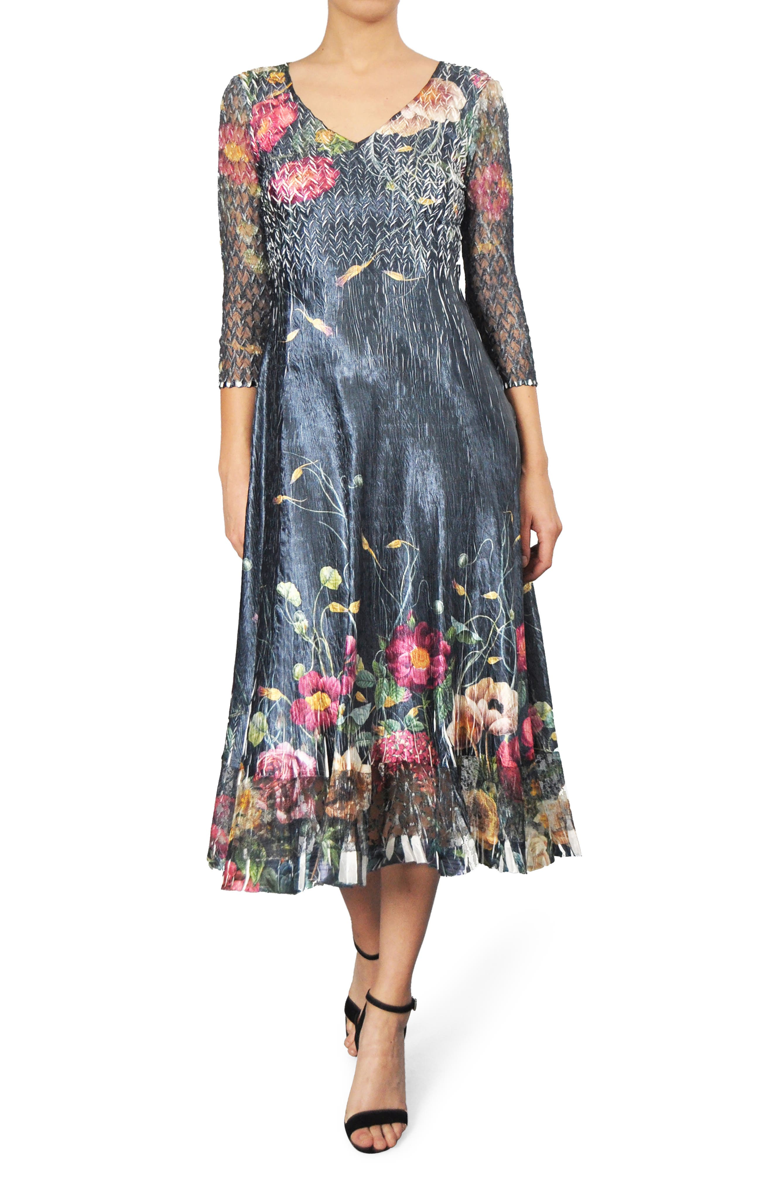 Main Image - Komarov Print A-Line Midi Dress (Regular & Petite)