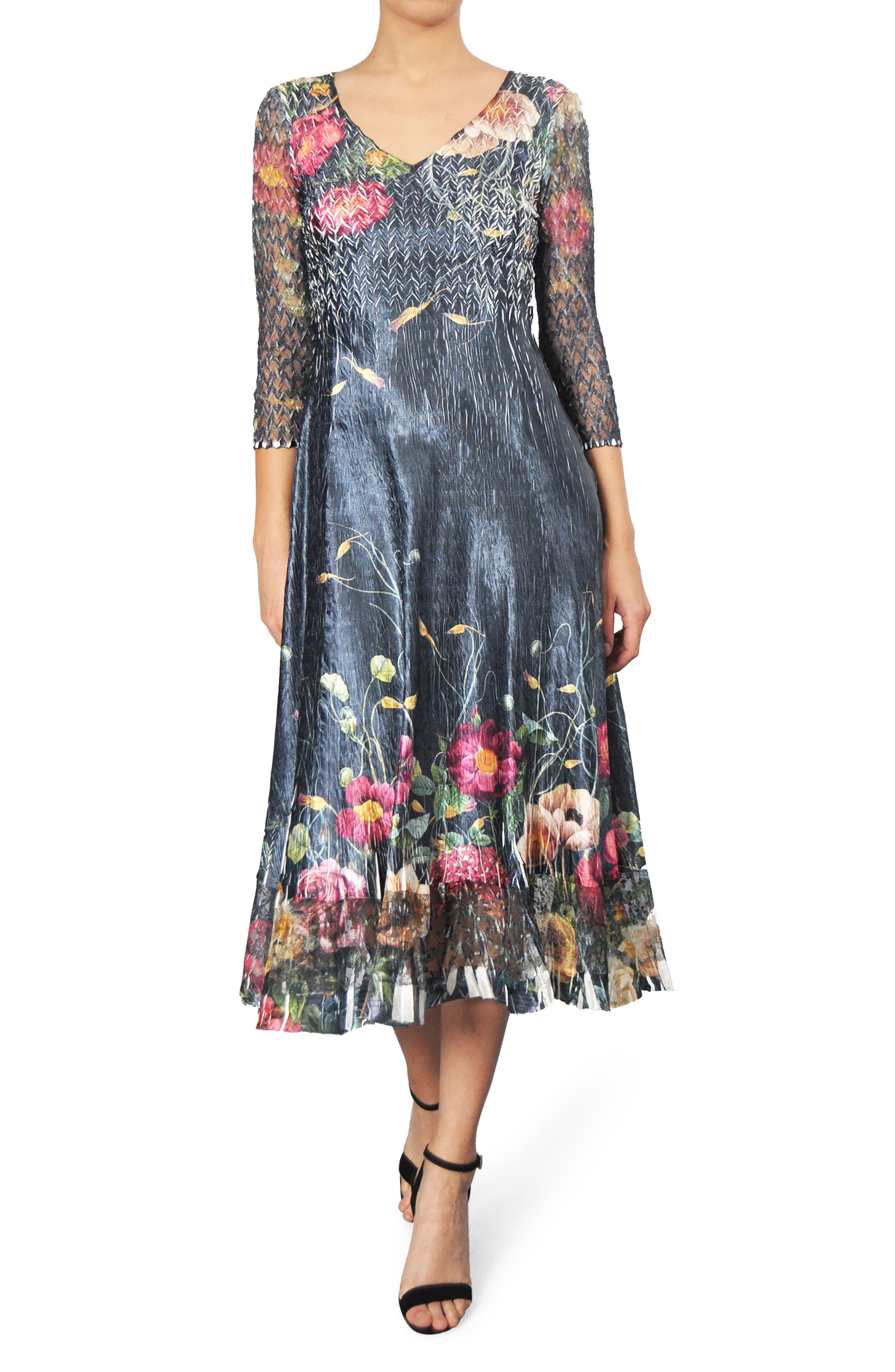 Print A-Line Midi Dress,                         Main,                         color, Midnight Trellis